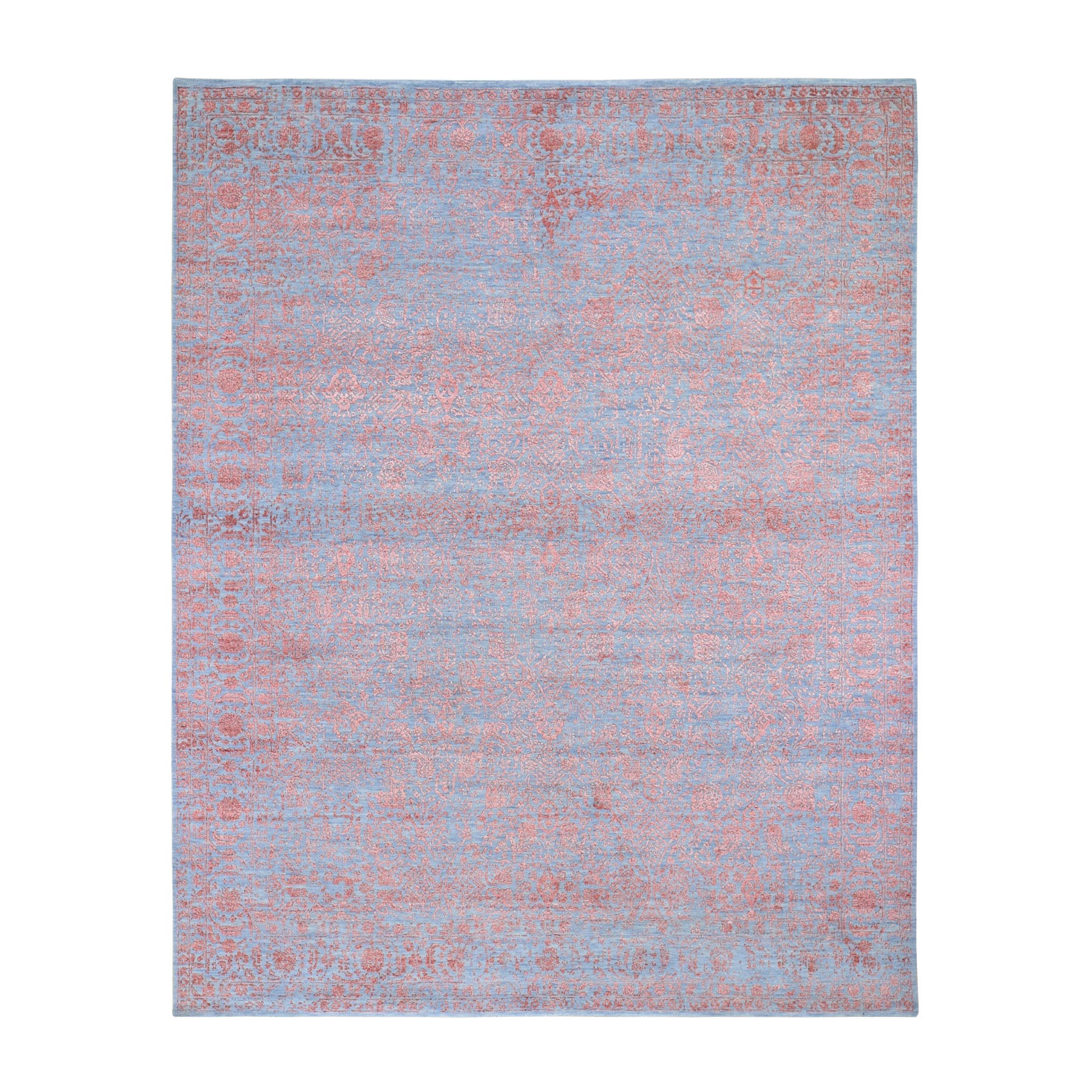 """8'X9'9"""" Rust Tone On Tone Wool And Silk Erased Vase Design Hand Knotted Oriental Rug moad896a"""
