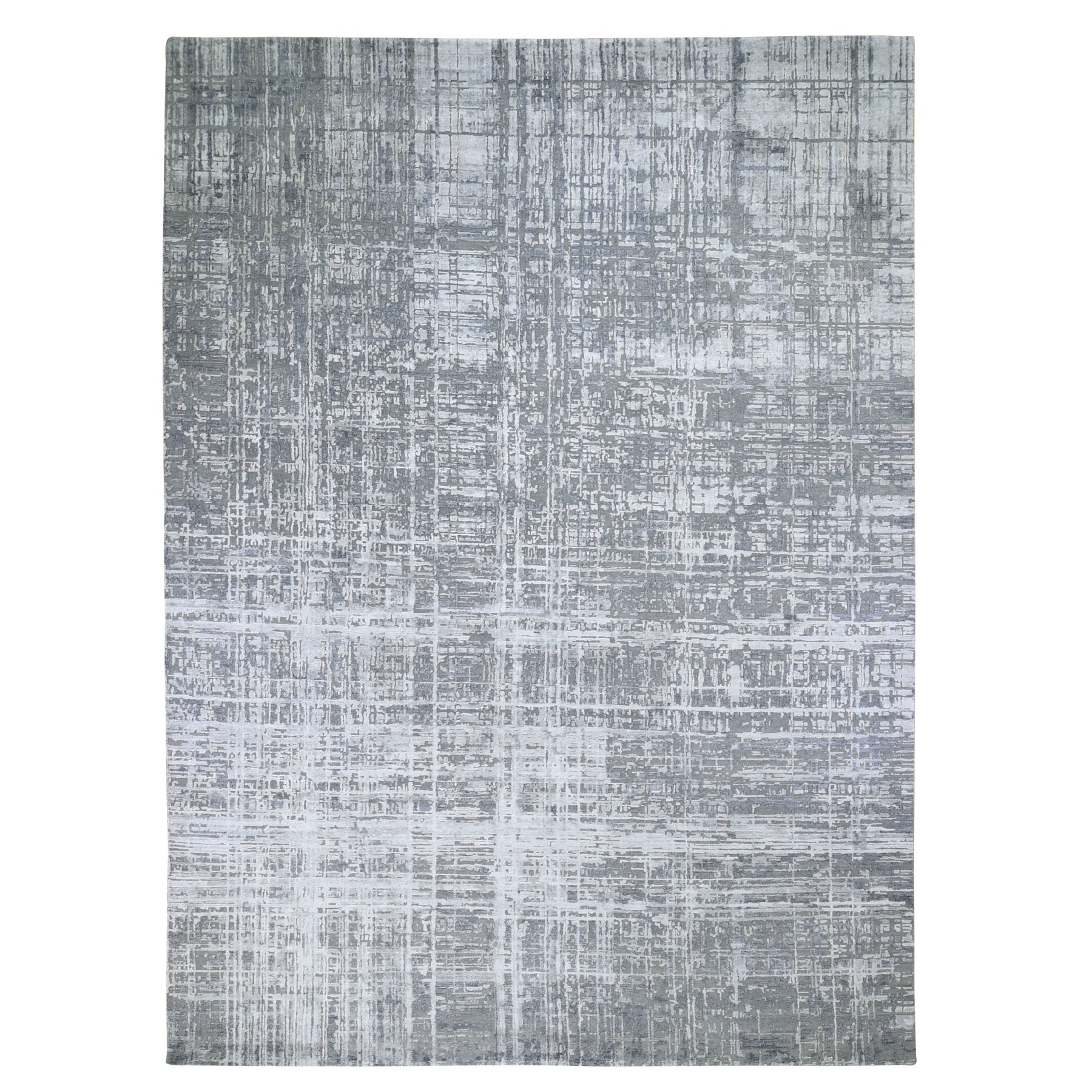 "10'X14'1""  Gray Wool And Silk Abstract Design Hand Knotted Oriental Rug moad896b"