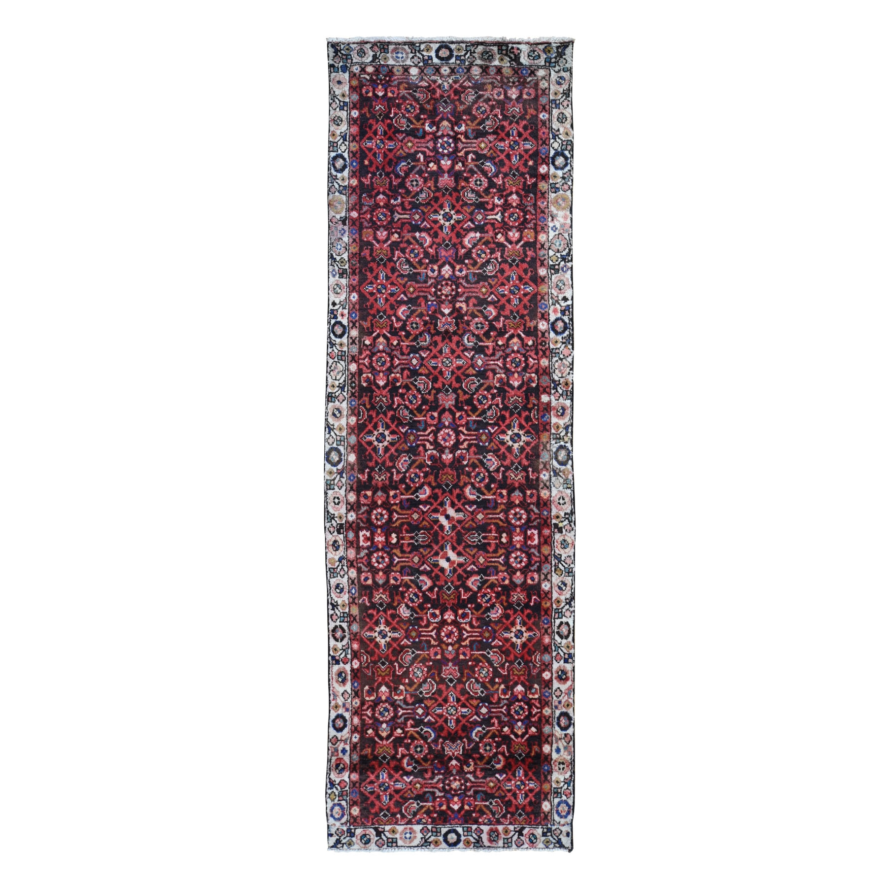 """3'2""""X10'10""""  Brown Vintage Hamadan Fish Design Pure Wool  Hand Knotted Runner Oriental Rug moad896e"""