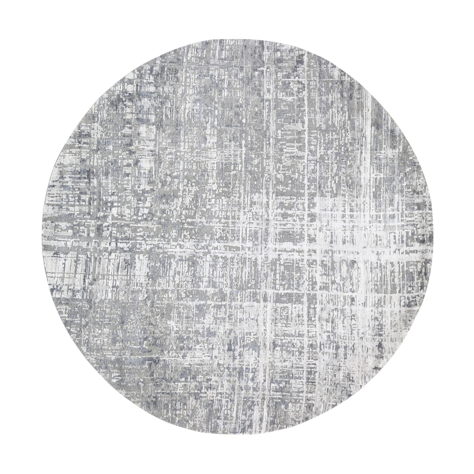 """8'2""""x8'2"""" Round Gray Wool And Silk Abstract Design Hand knotted Oriental Rug"""