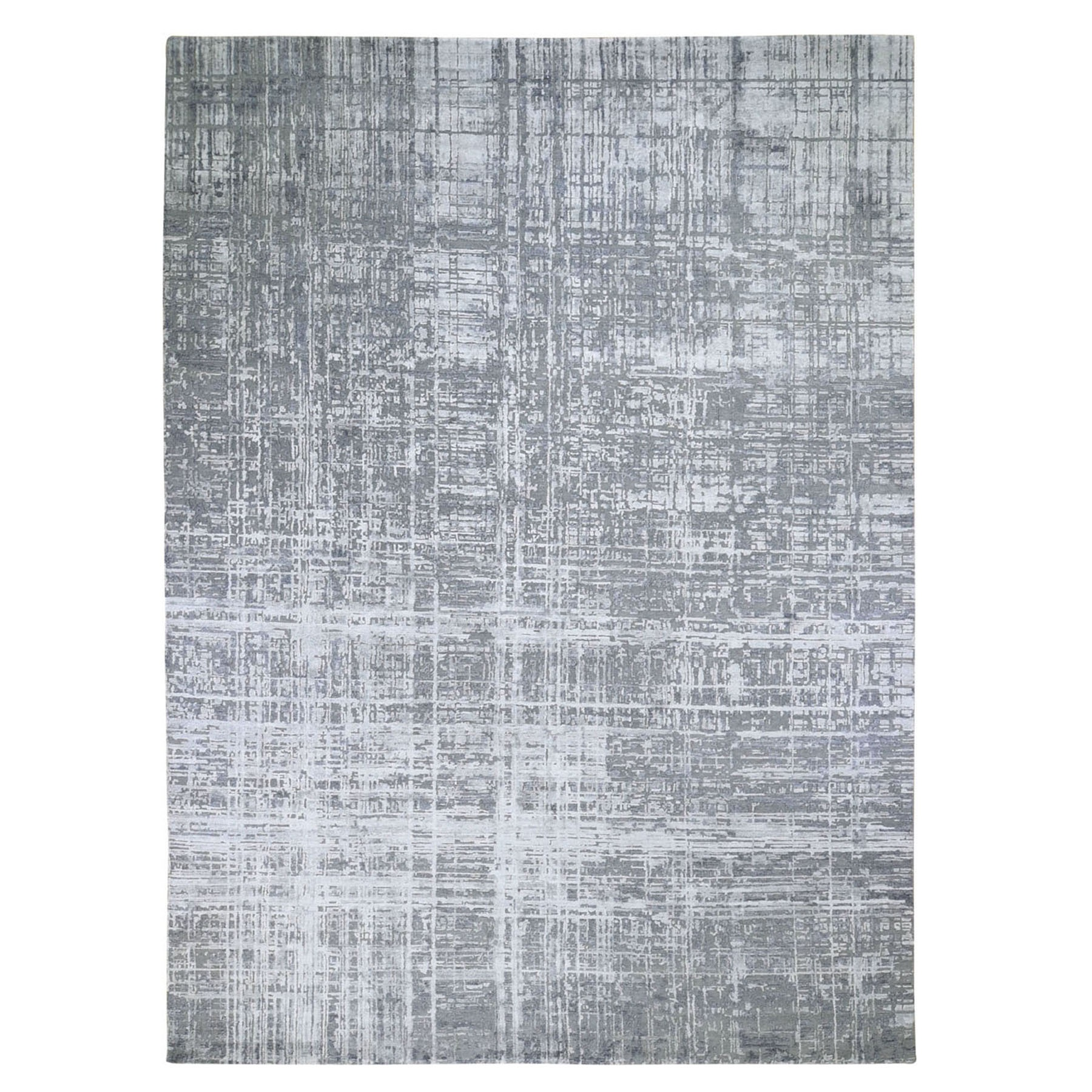 "10'2""X13'10"" Gray Wool And Silk Abstract Design Hand Knotted Oriental Rug moad897c"