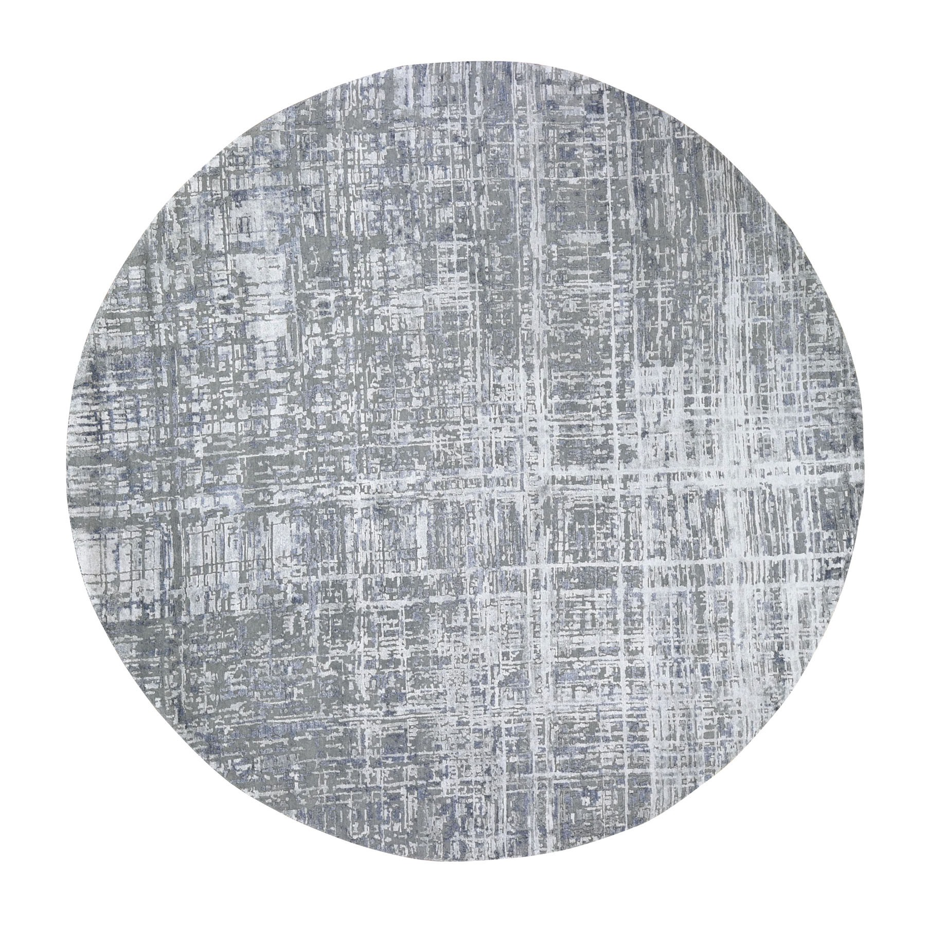 "10'3""X10'3"" Round Gray Wool And Silk Abstract Design Hand Knotted Oriental Rug moad897d"