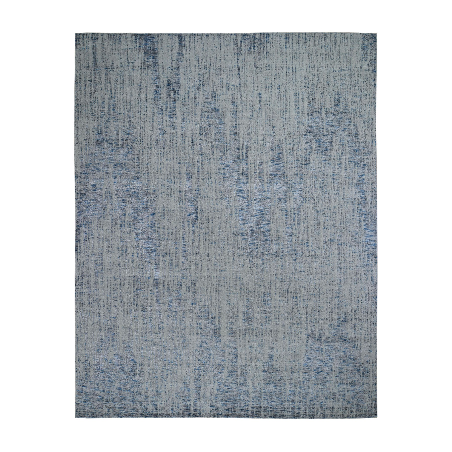 "7'9""X9'10"" Gray Fine Jacquard Hand-Loomed Modern Wool And Silk Oriental Rug moad898b"