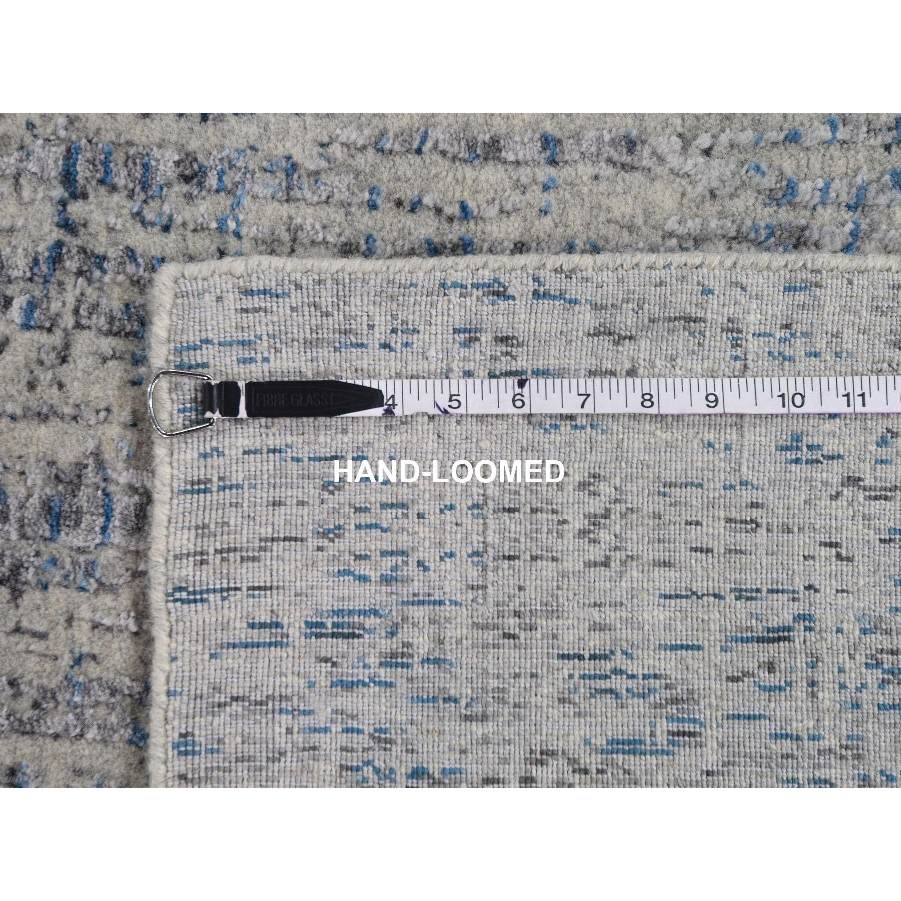 7-9 x9-10  Gray Fine jacquard Hand-Loomed Modern Wool And Silk Oriental Rug