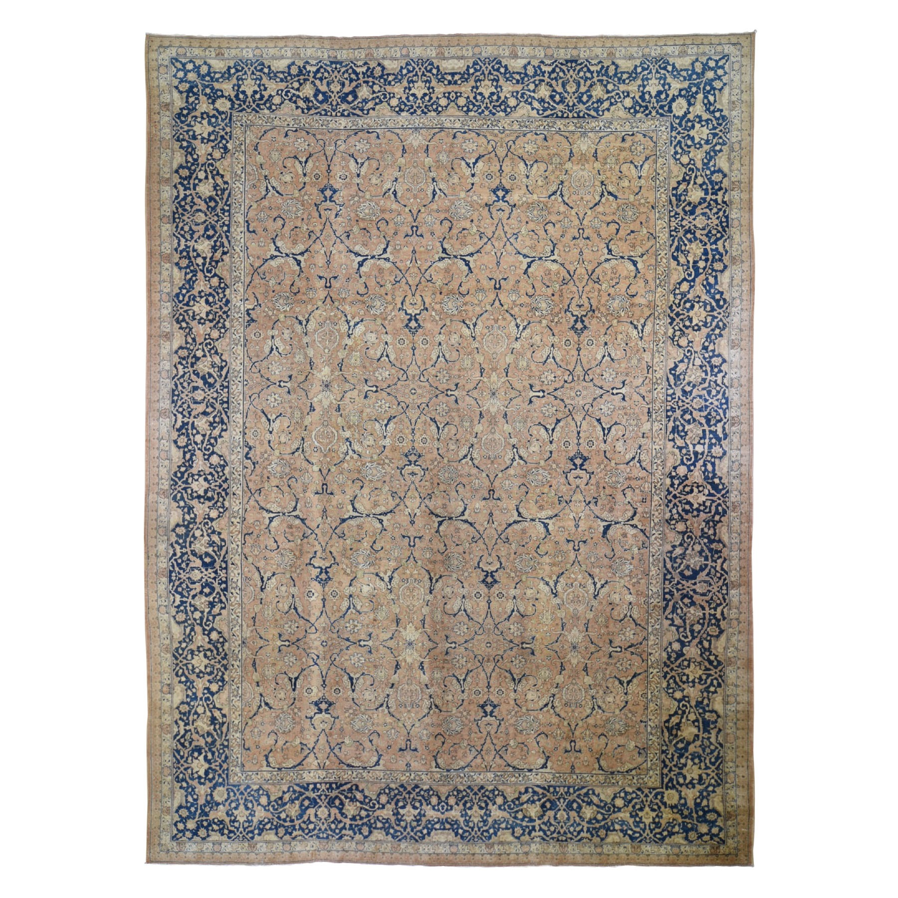 "10'4""X14' Antique Persian Tabriz All Over Arabesque Motifs Hand Knotted Oriental Rug moad898d"