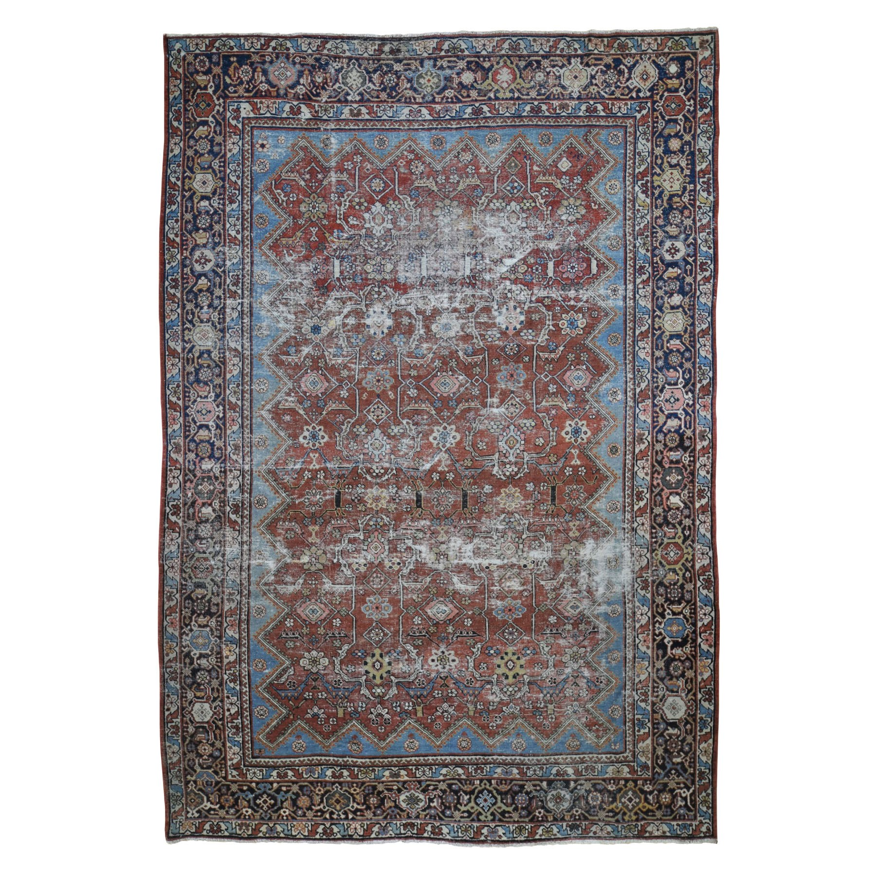 "9'X12'9"" Red Antique Worn Persian Mahal Clean Hand Knotted Oriental Rug moad898e"