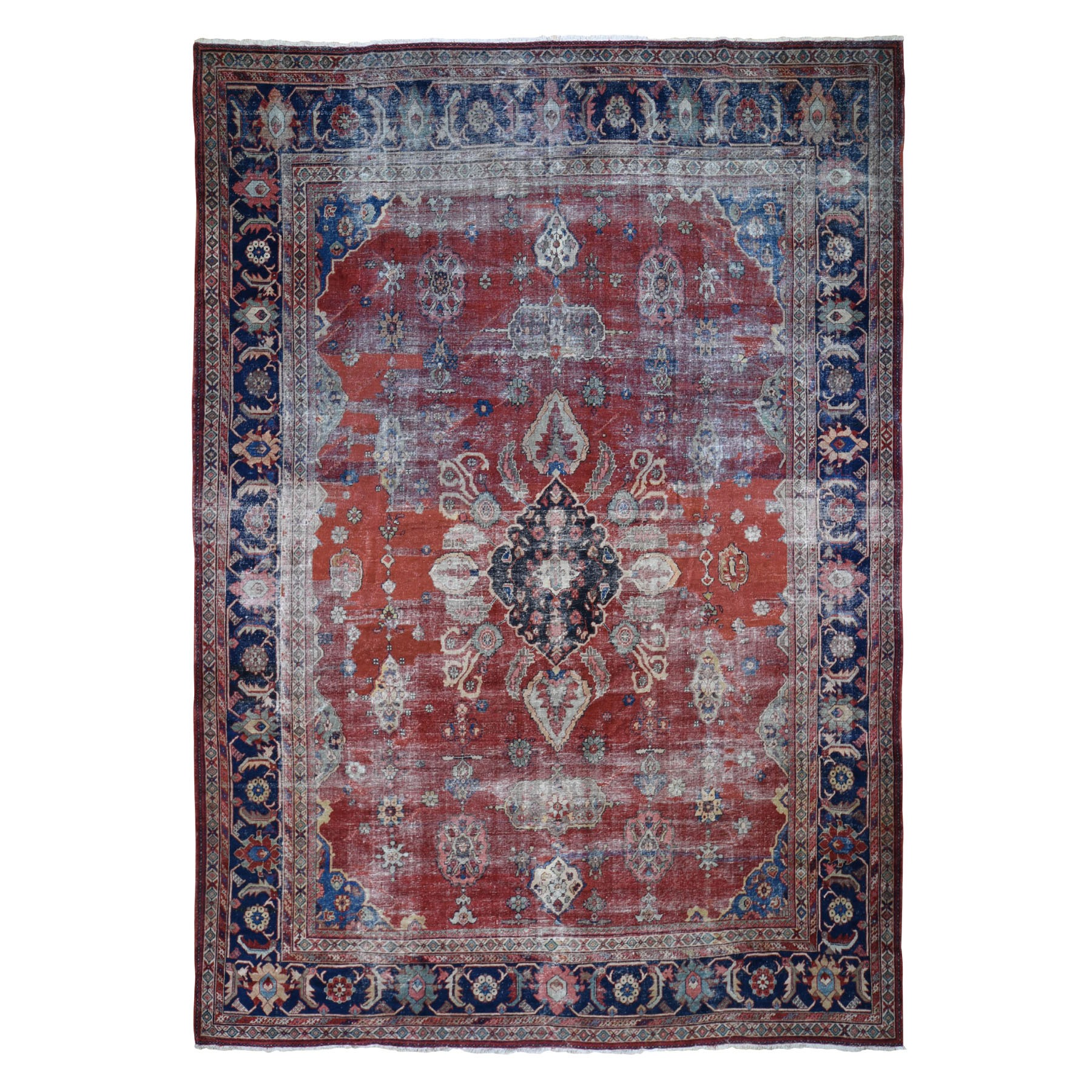 "10'3""X13'9"" Red Antique And Worn Persian Mahal Hand Knotted Oriental Rug moad8986"