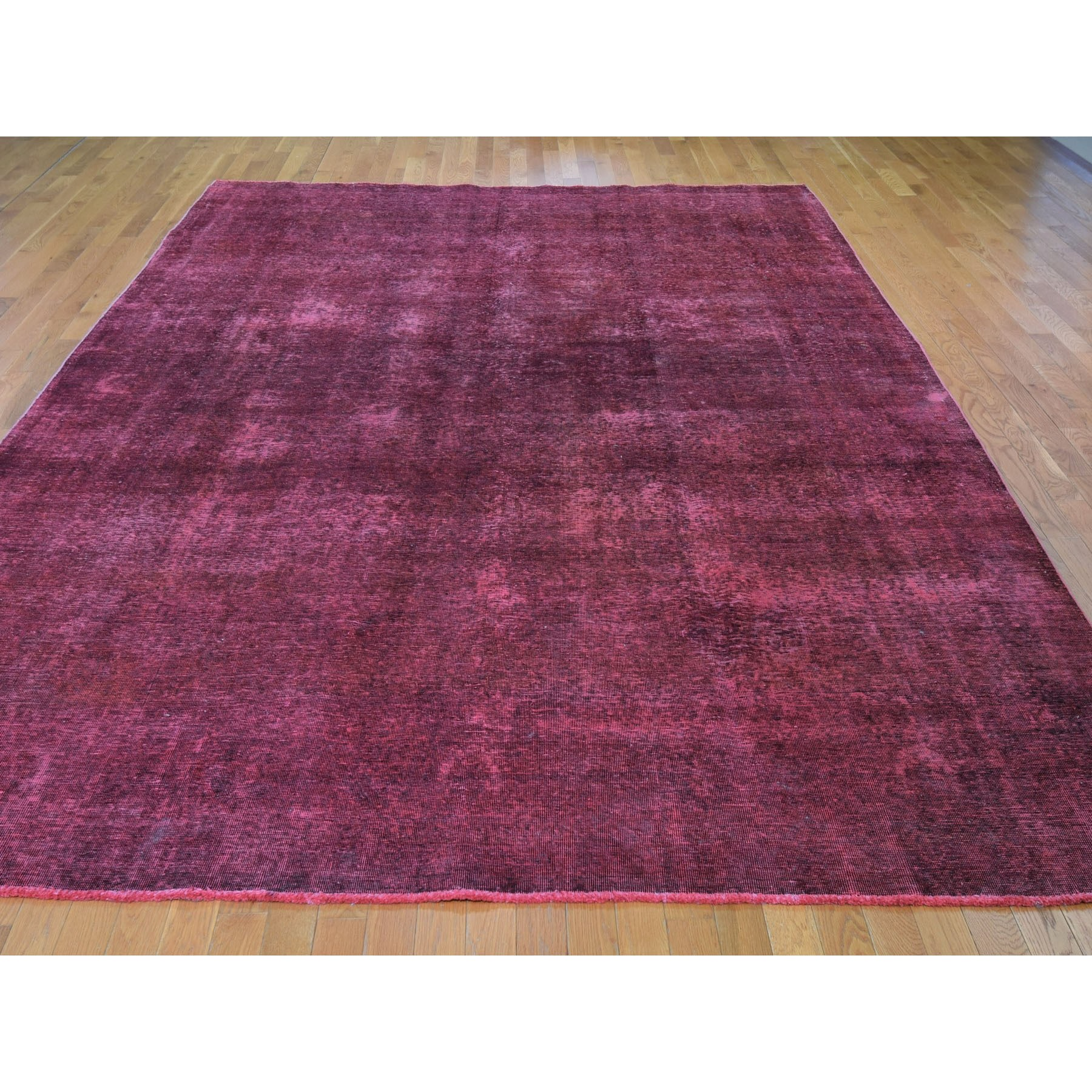 9-1 x13-  Red Overdyed Tabriz Worn Pile Hand Knotted Oriental Rug