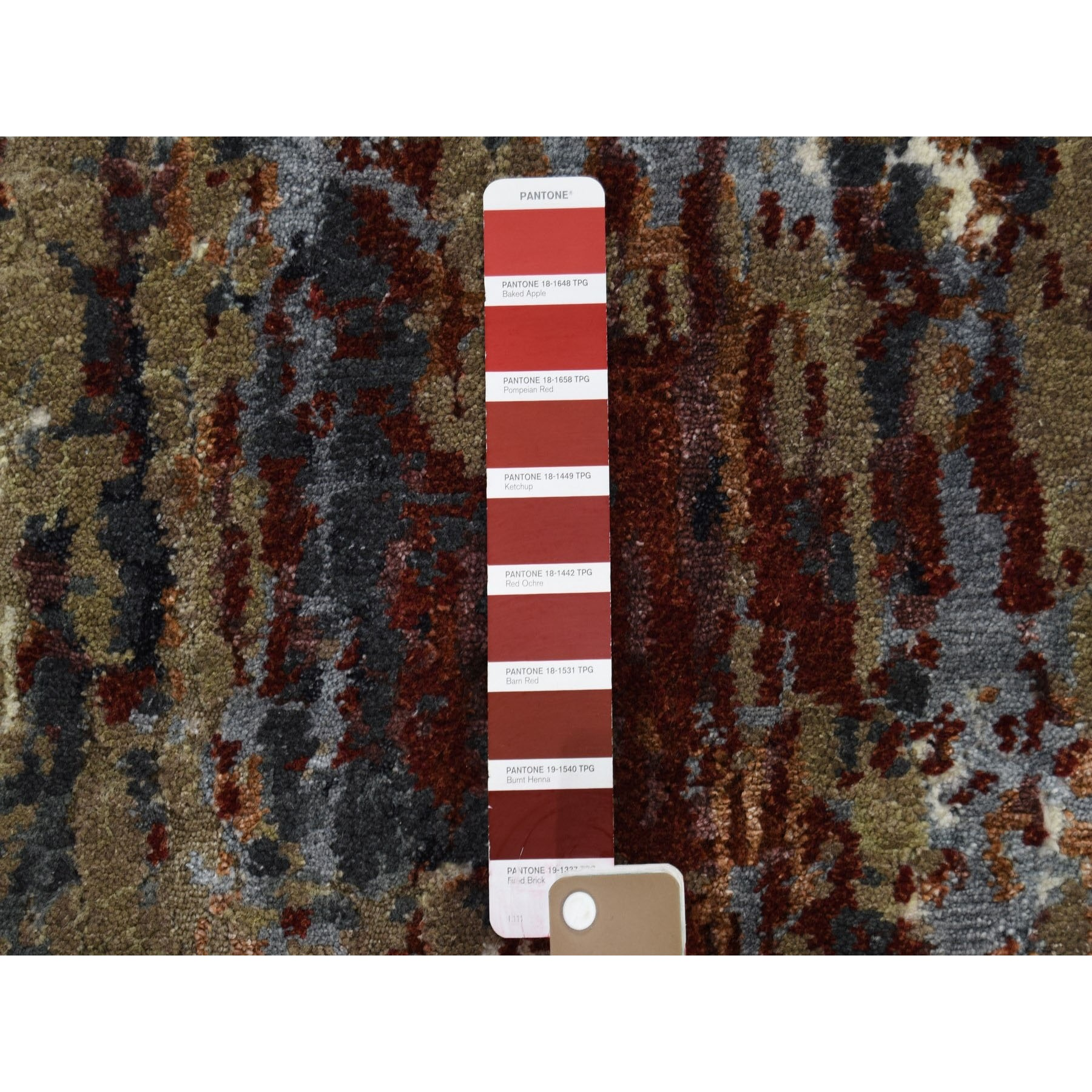 2-x3- Sample Red Abstract Design Wool and Silk Hand-Knotted Oriental Rug