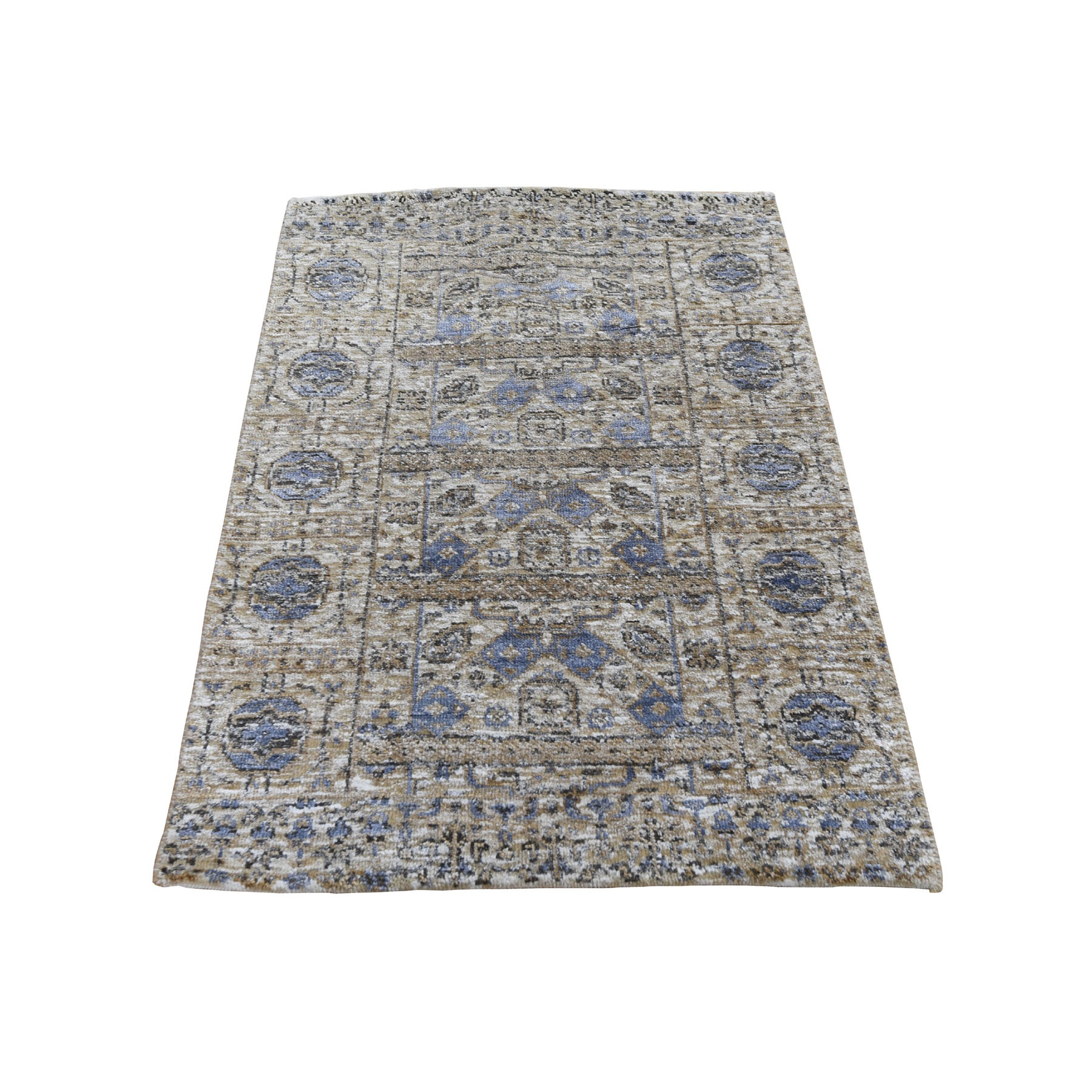 """2'2""""x3'1"""" Sampler Silver Silk With Textured wool Mamluk Design Hand knotted Oriental Rug"""