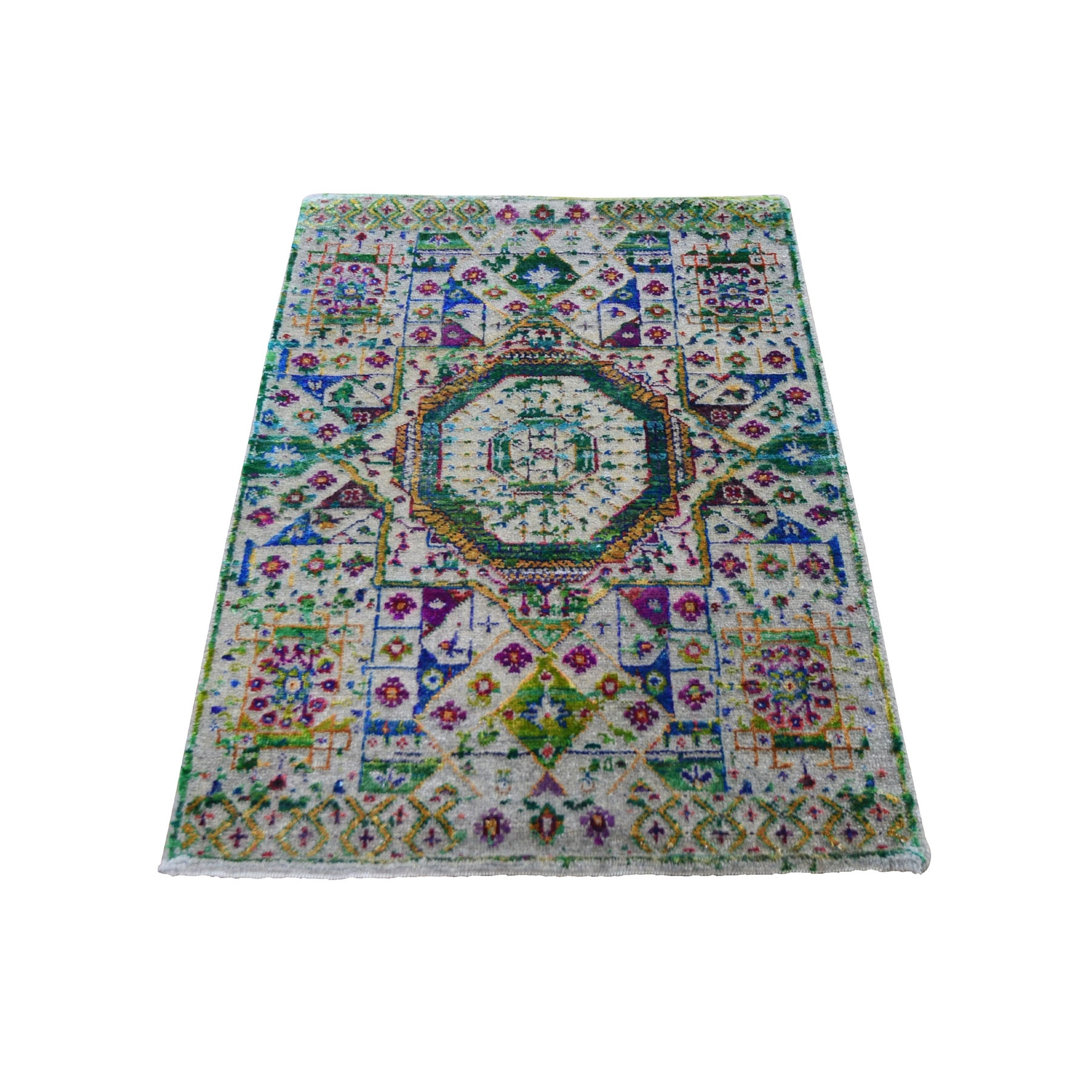 "2'1""X3' Colorful Sari Silk Mamluk Design Hand Knotted Oriental Rug moad8990"