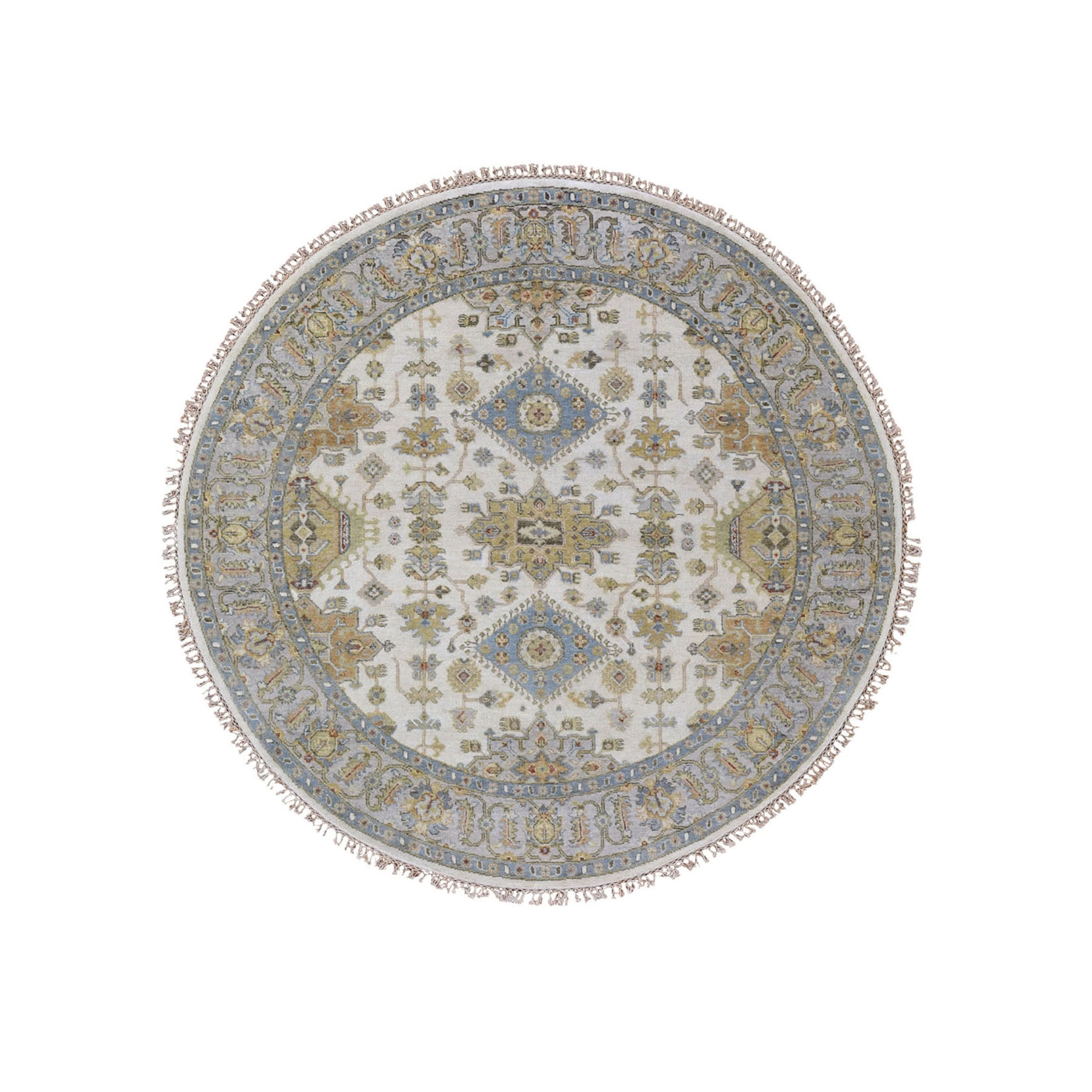 "4'1""x4'1"" Round Ivory Karajeh Design Pure Wool Hand Knotted Oriental Rug"