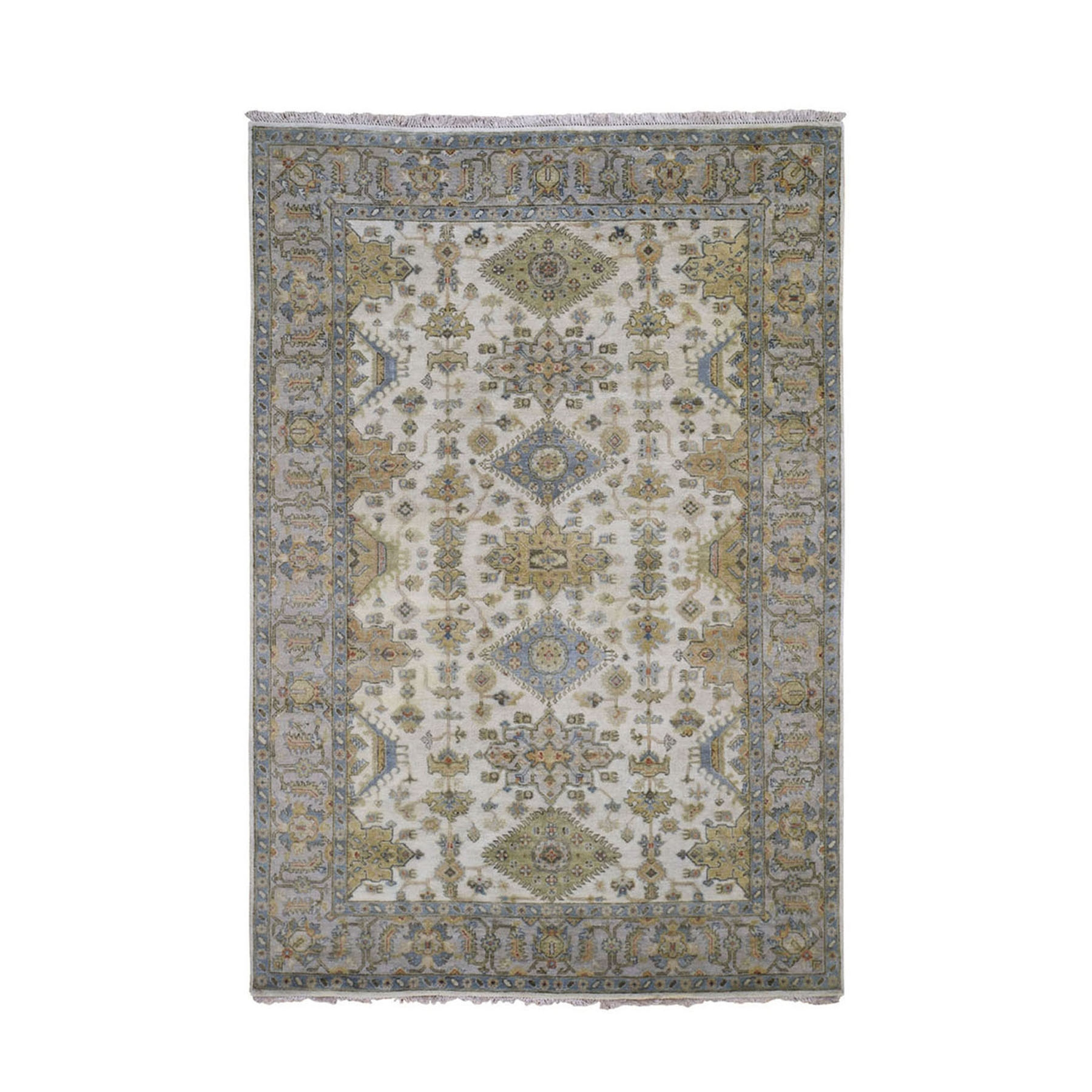 """4'2""""X6' Ivory Karajeh Design Pure Wool Hand Knotted Oriental Rug moad9000"""