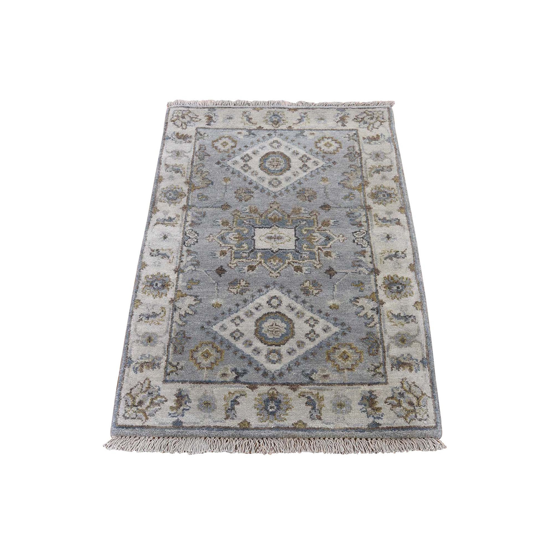 2'X3' Gray Karajeh Design Pure Wool Hand Knotted Oriental Rug moad9006