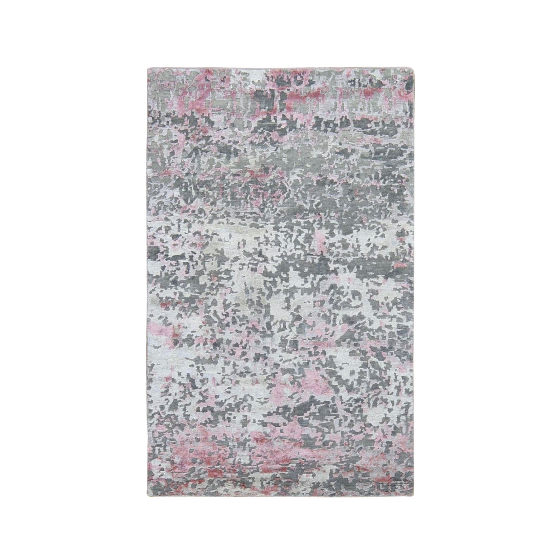 "3'X4'9"" Pink Hi-Lo Pile Abstract Design Wool And Silk Hand Knotted Oriental Rug moad9007"