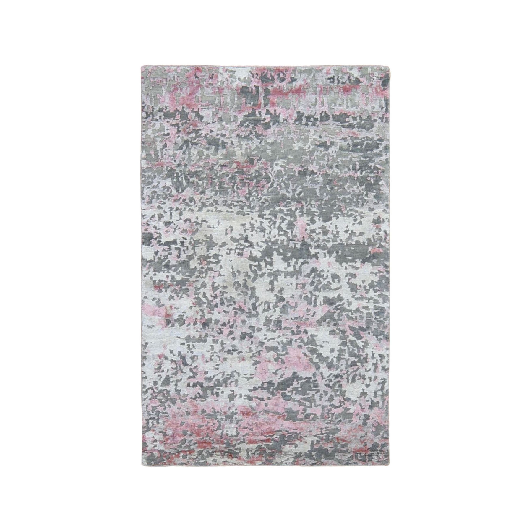 "3'X4'8"" Pink Hi-Lo Pile Abstract Design Wool And Silk Hand Knotted Oriental Rug moad9008"