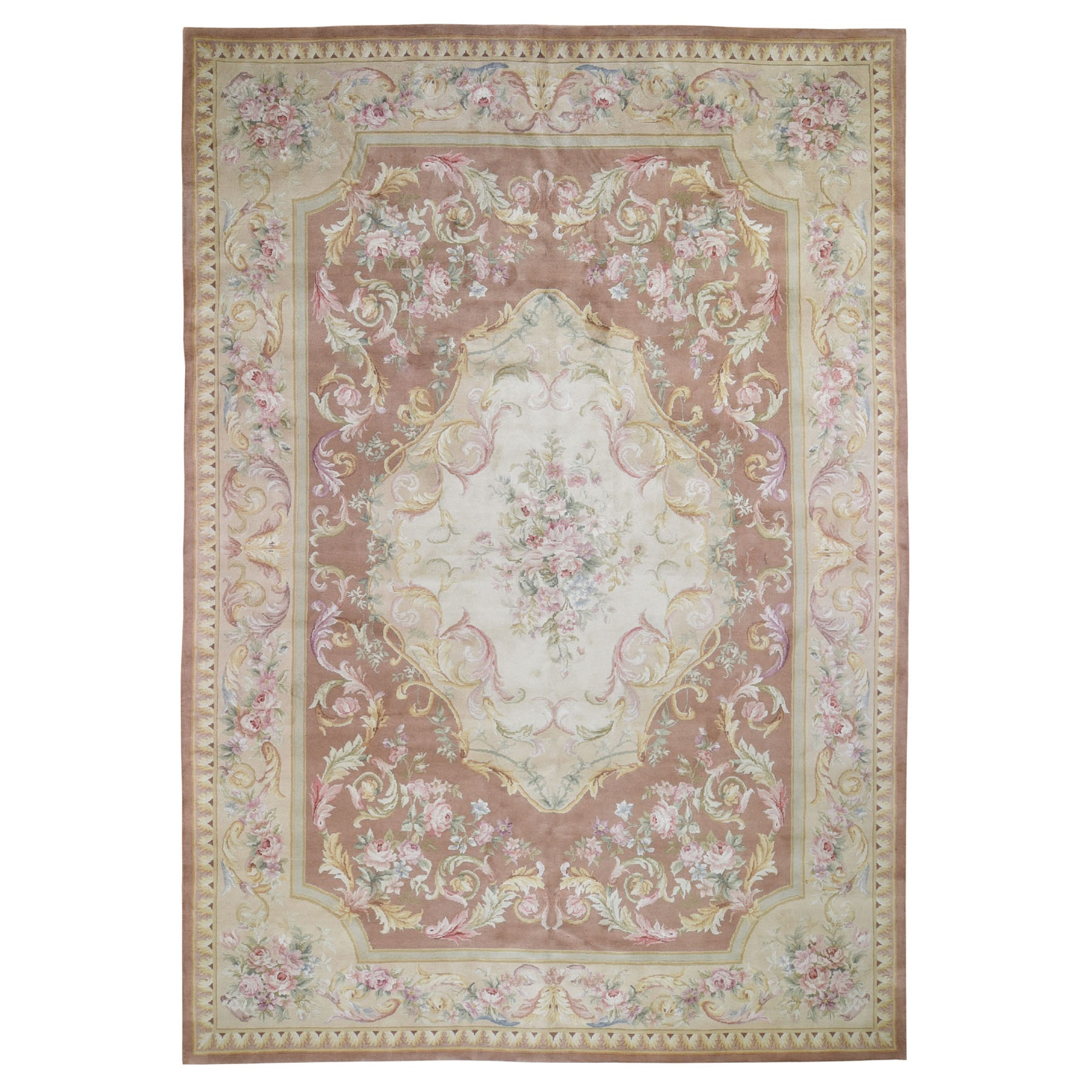 "9'9""X13'9"" Thick And Plush Savonnerie Neo Classic Design Pure Wool Hand Knotted Oriental Rug moad90ba"