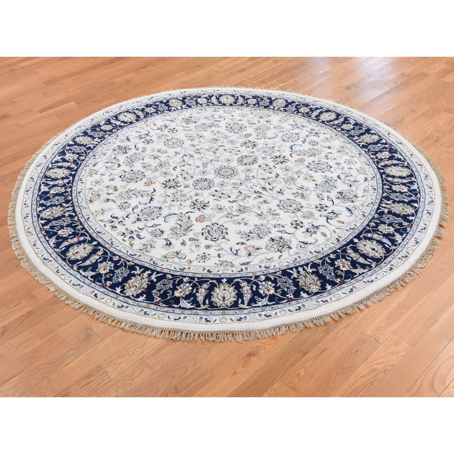 6-1 x6-1  Ivory Nain Wool And Silk 250 KPSI All Over Design Hand Knotted Round Oriental Rug