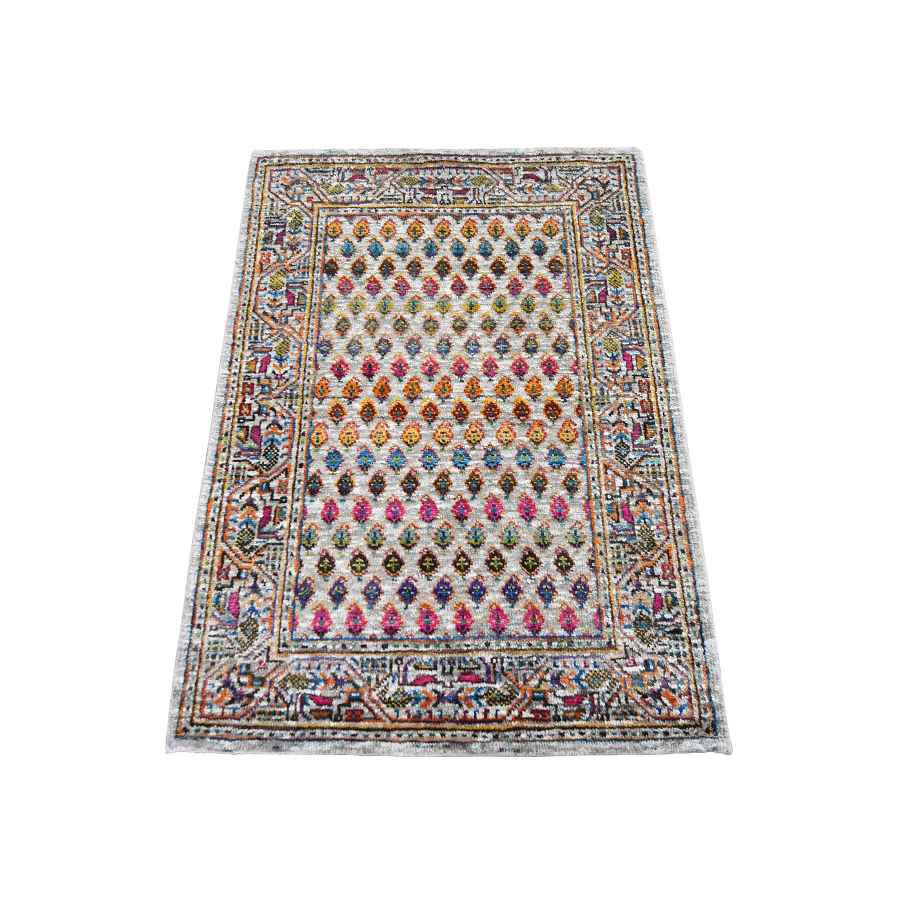 "2'2""X3'1"" Colorful Wool And Sari Silk Sarouk Mir Design Hand Knotted Oriental Rug moad90b6"