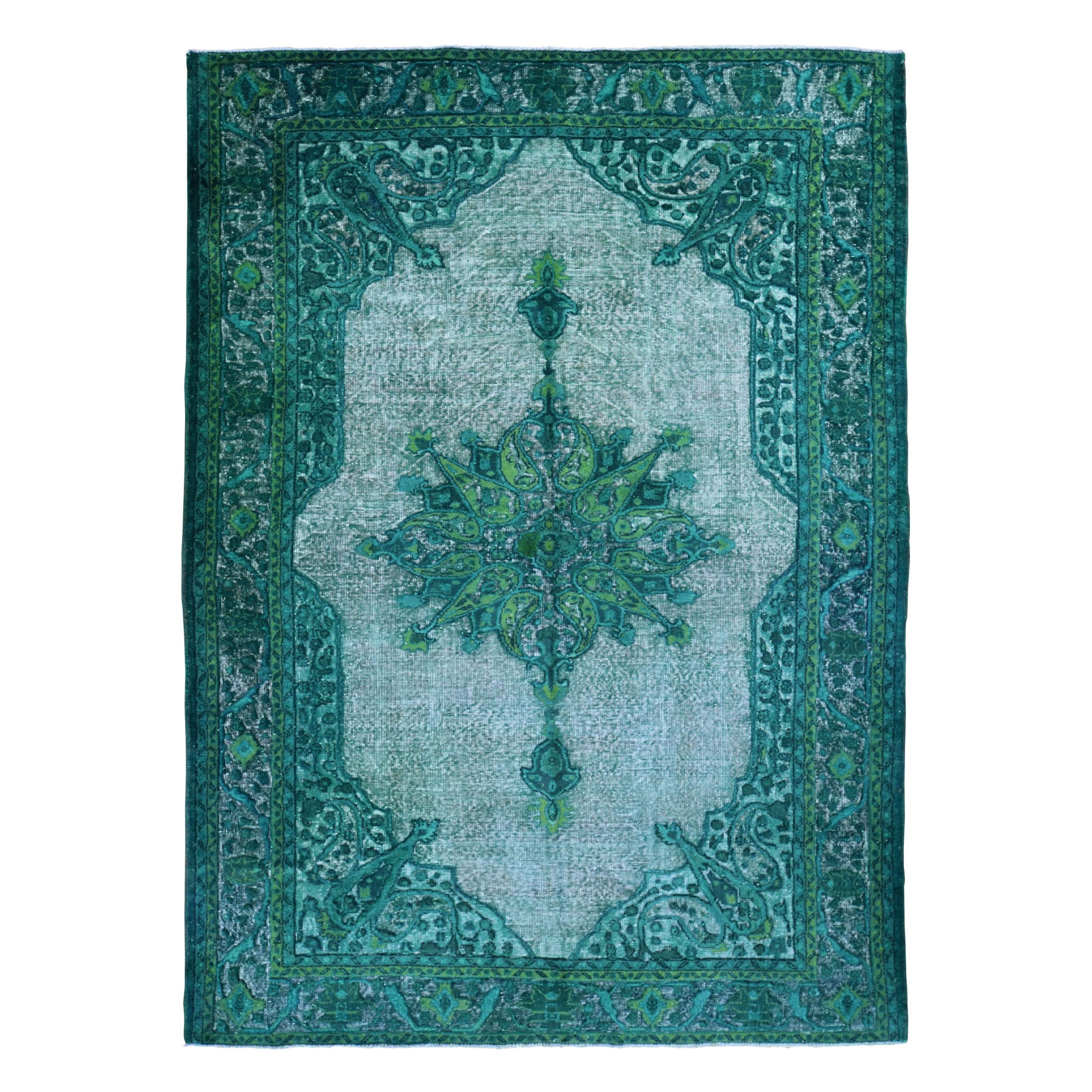 "7'3""x10'8"" Greens Overdyed Turkish Shivas Hi-Lo Wool Hand Knotted Oriental Rug 49030"