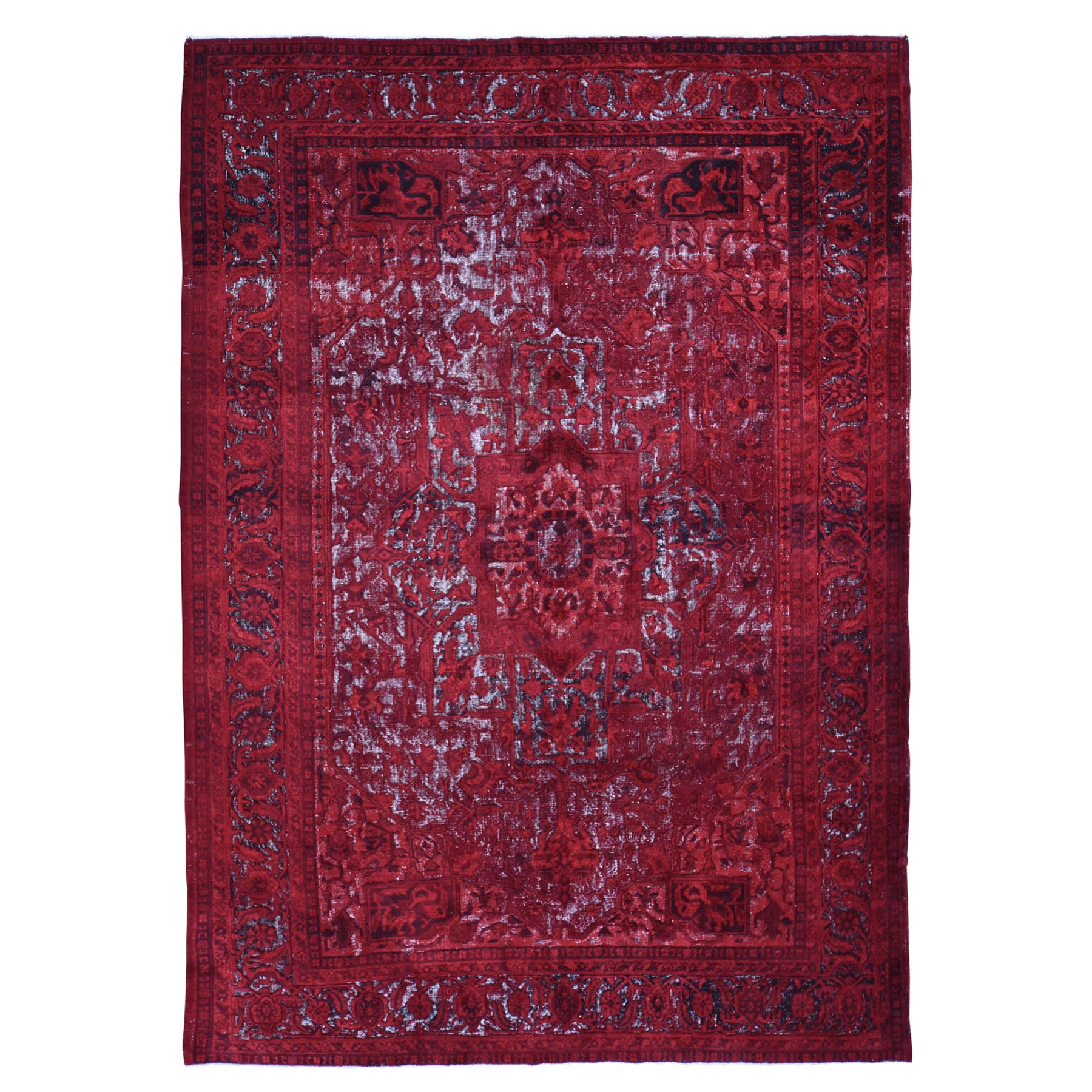 "8'X11'8"" Red Overdyed Turkish Heriz Hi-Lo Wool Hand Knotted Oriental Rug moad90ca"