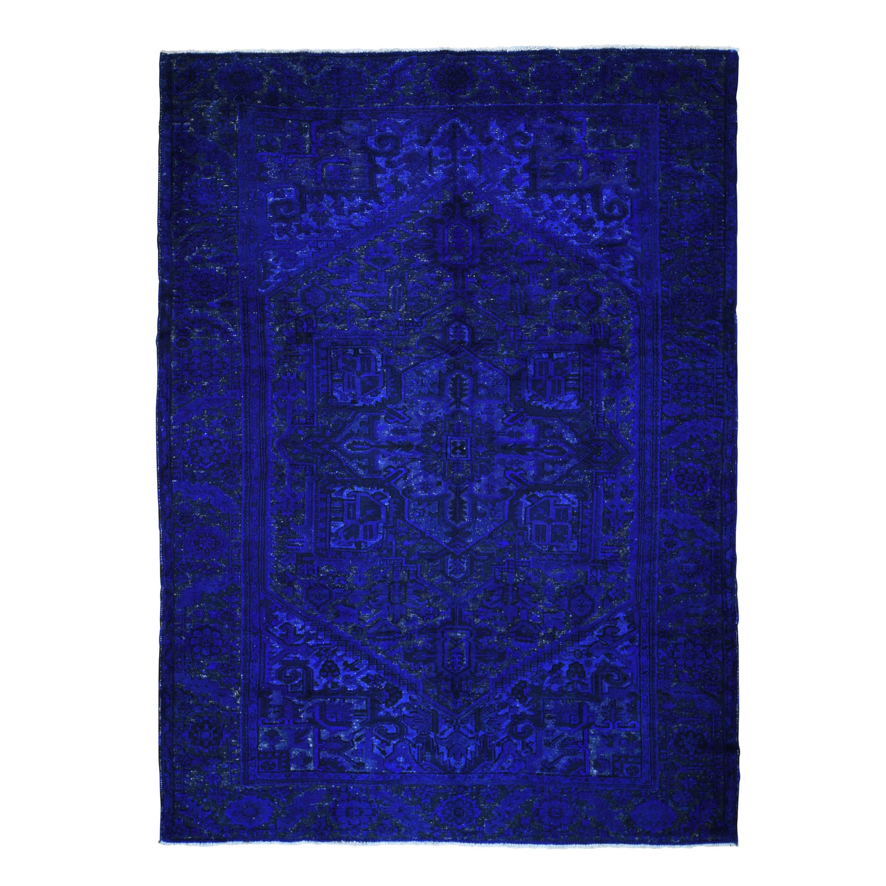 "8'3""X11'2"" Blue Overdyed Persian Heriz Hi-Lo Pile Pure Wool Hand Knotted Oriental Rug moad90cb"