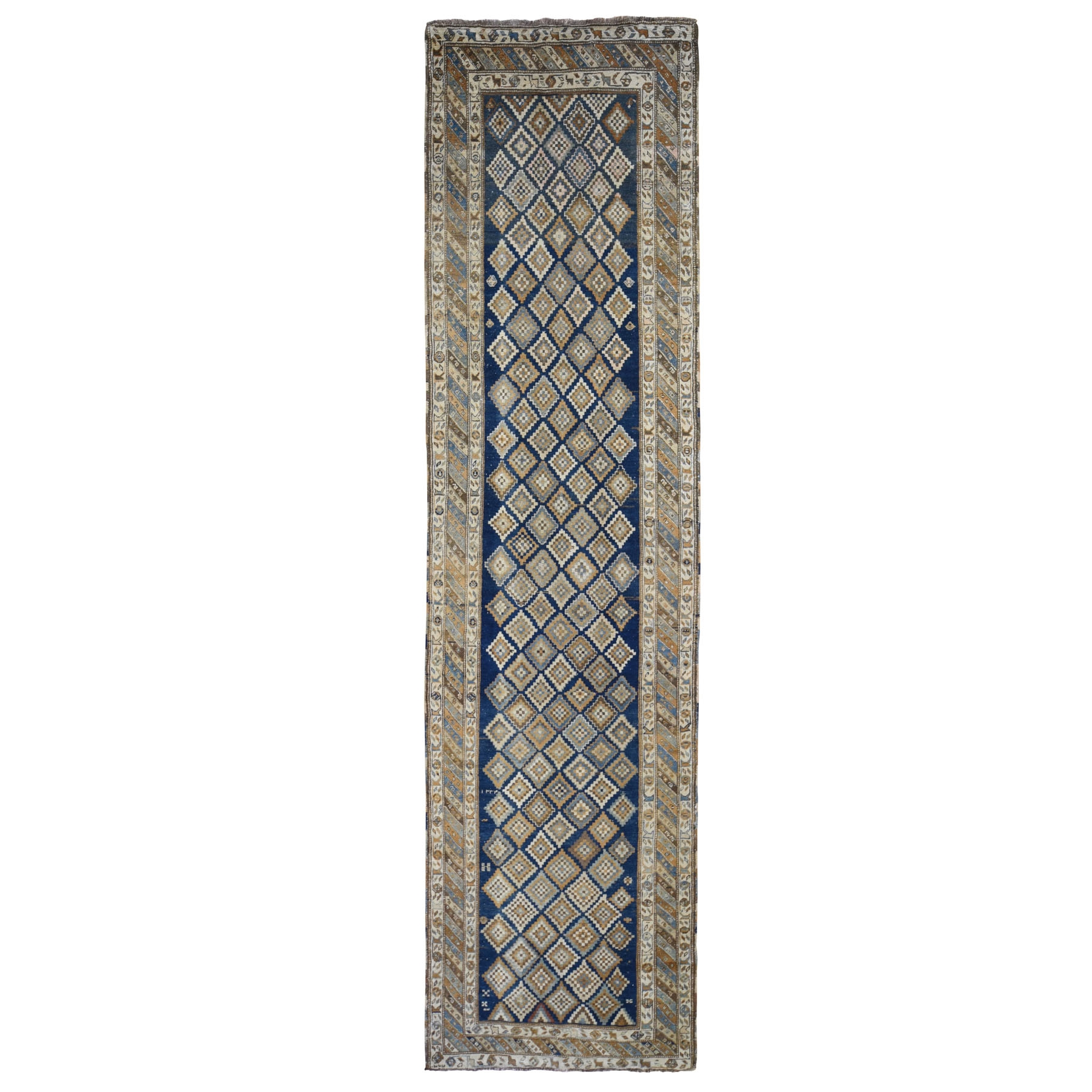 3-4 x13-2  Blue Antique Caucasian Wide Runner All Over Square Design Hand Knotted Fine Oriental Rug
