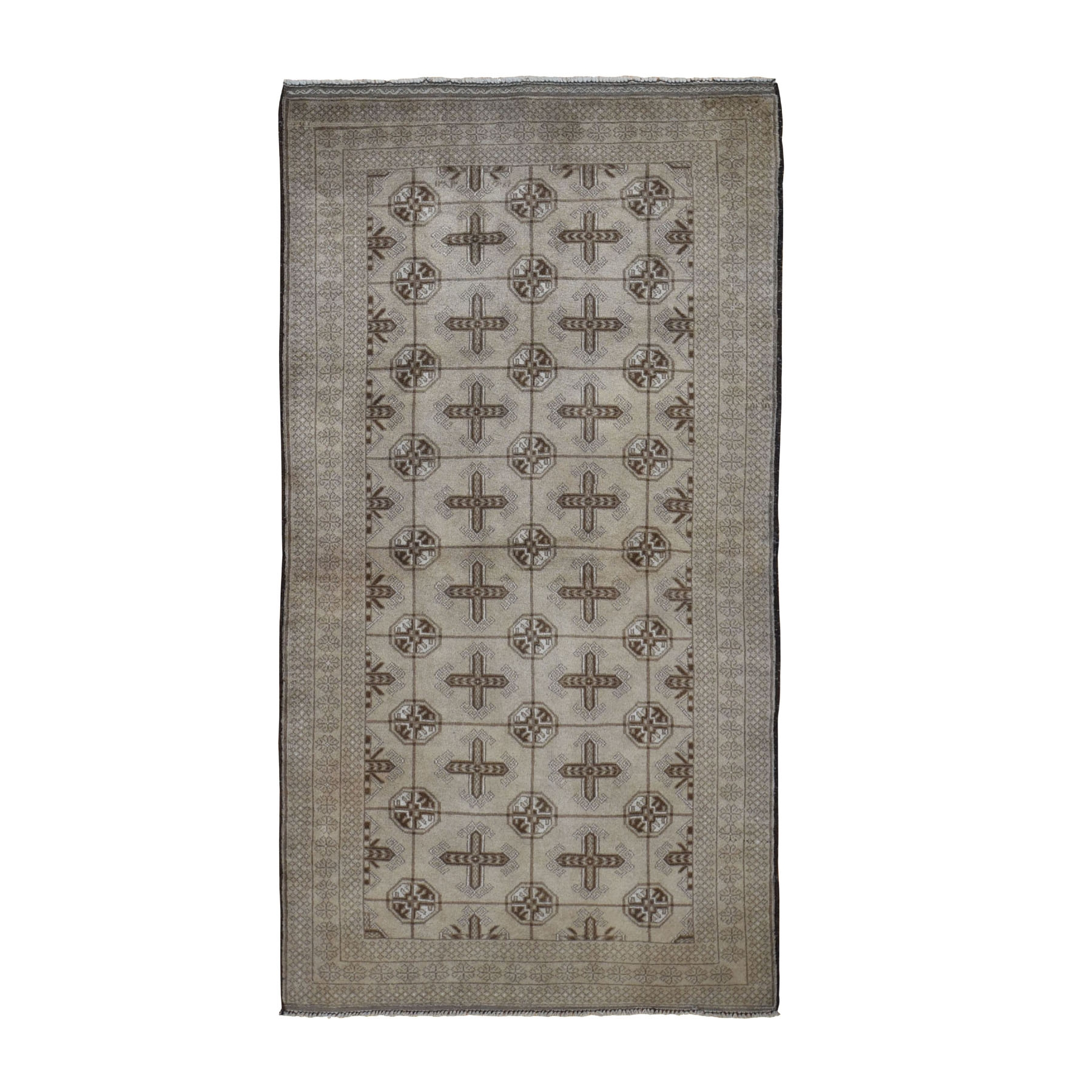 3-5 x6-7  Washed Out Turkoman Repetitive Design Wide Runner Tribal Rug