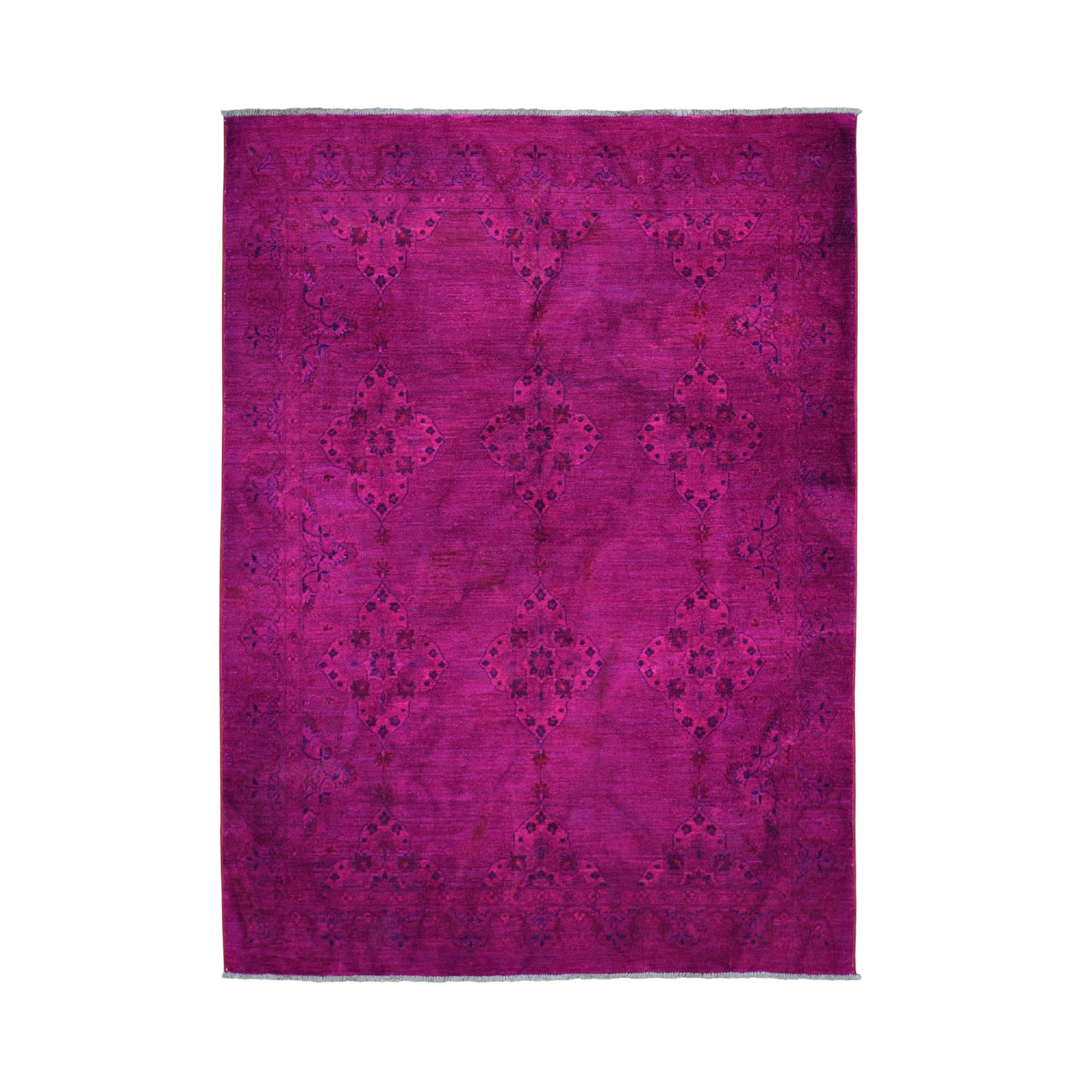 "5'5""x7'2"" Fuchsia Pink Overdyed Persian Tabriz Pure Wool Hand Knotted Oriental Rug"