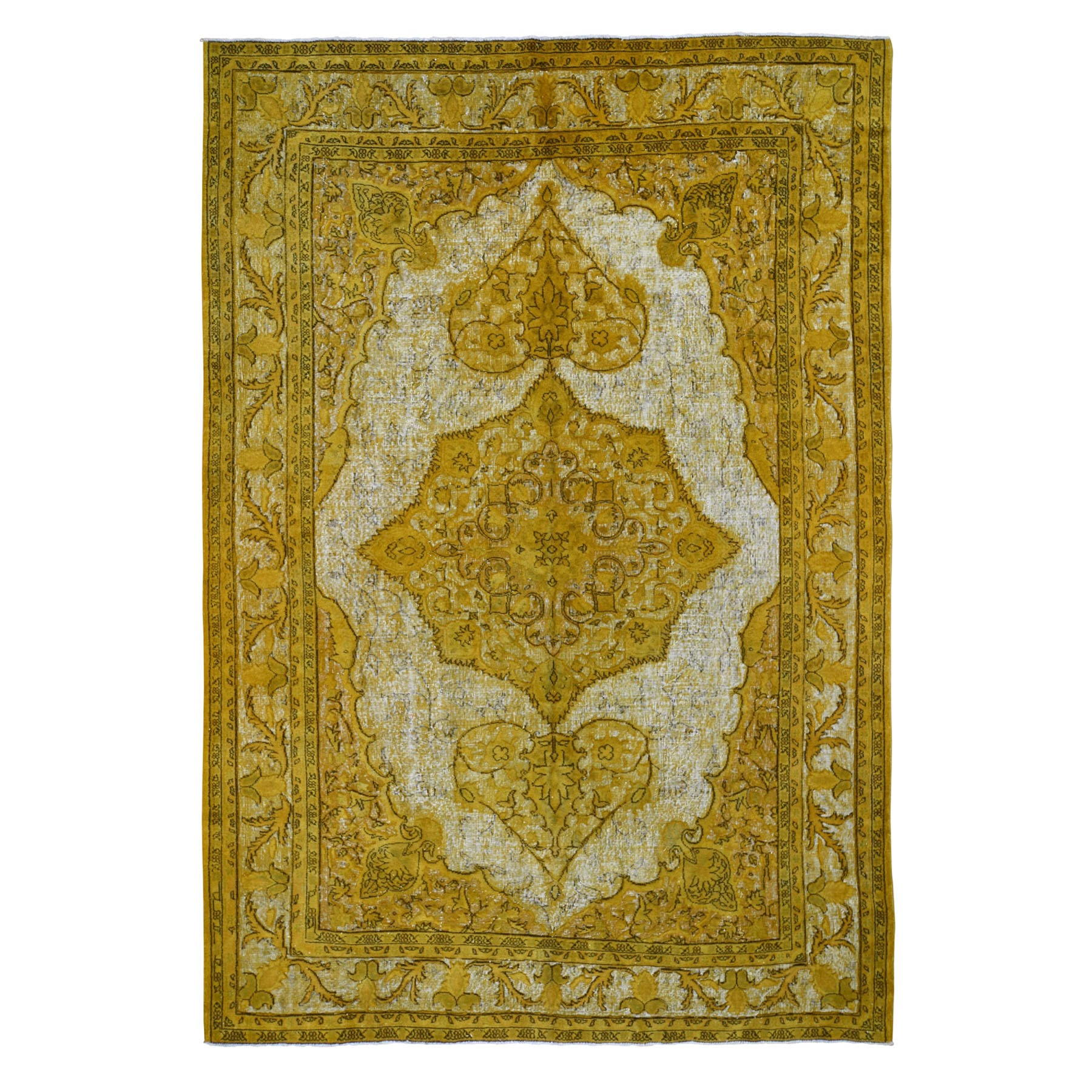 "8'6""X12'3"" Yellow Overdyed Turkish Shivas Hi-Lo Pile Pure Wool Hand Knotted Oriental Rug moad90c6"