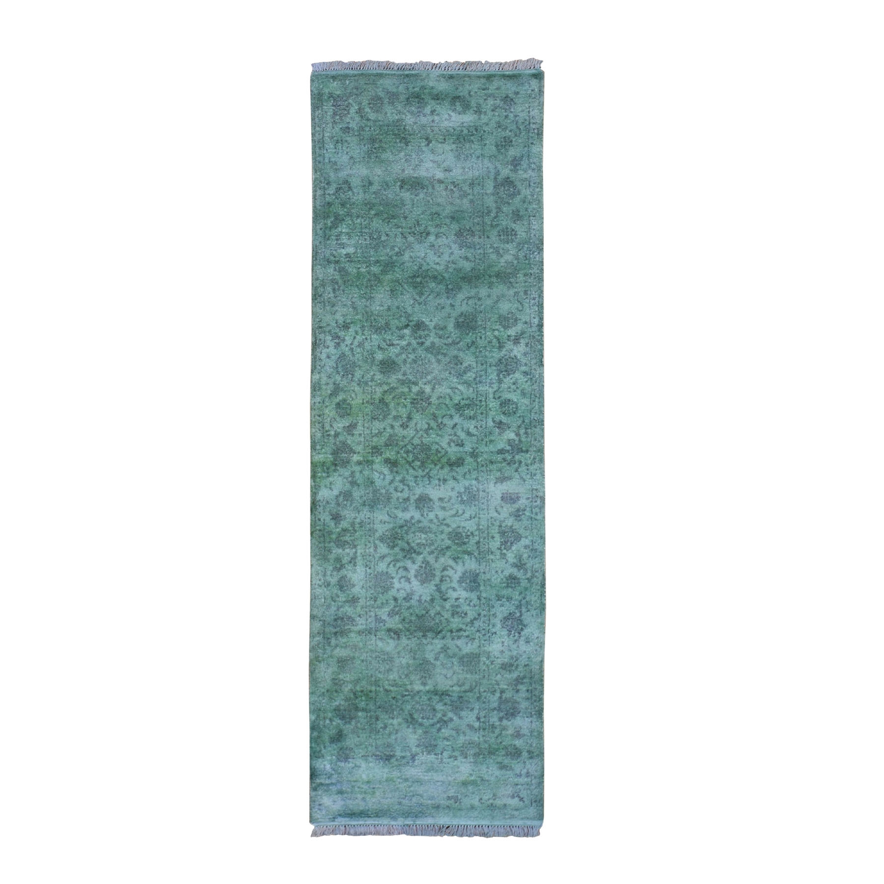 "2'6""X8'3"" Green Overdyed Fish Design Hand Knotted Oriental Rug moad90dd"
