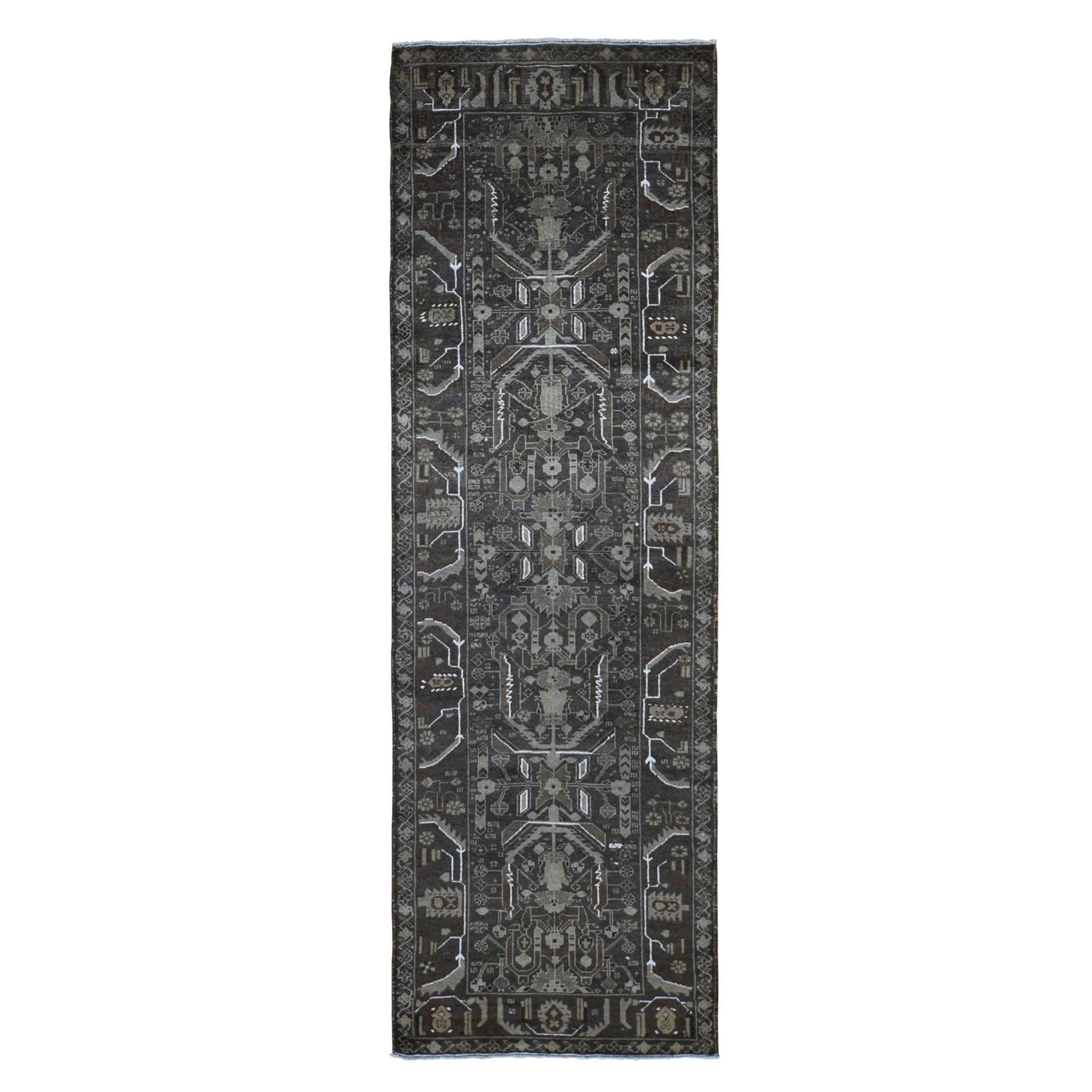 """3'x9'2"""" Washed Out Afghan Baluch Pure Wool Runner Hand Knotted Oriental Rug 49045"""