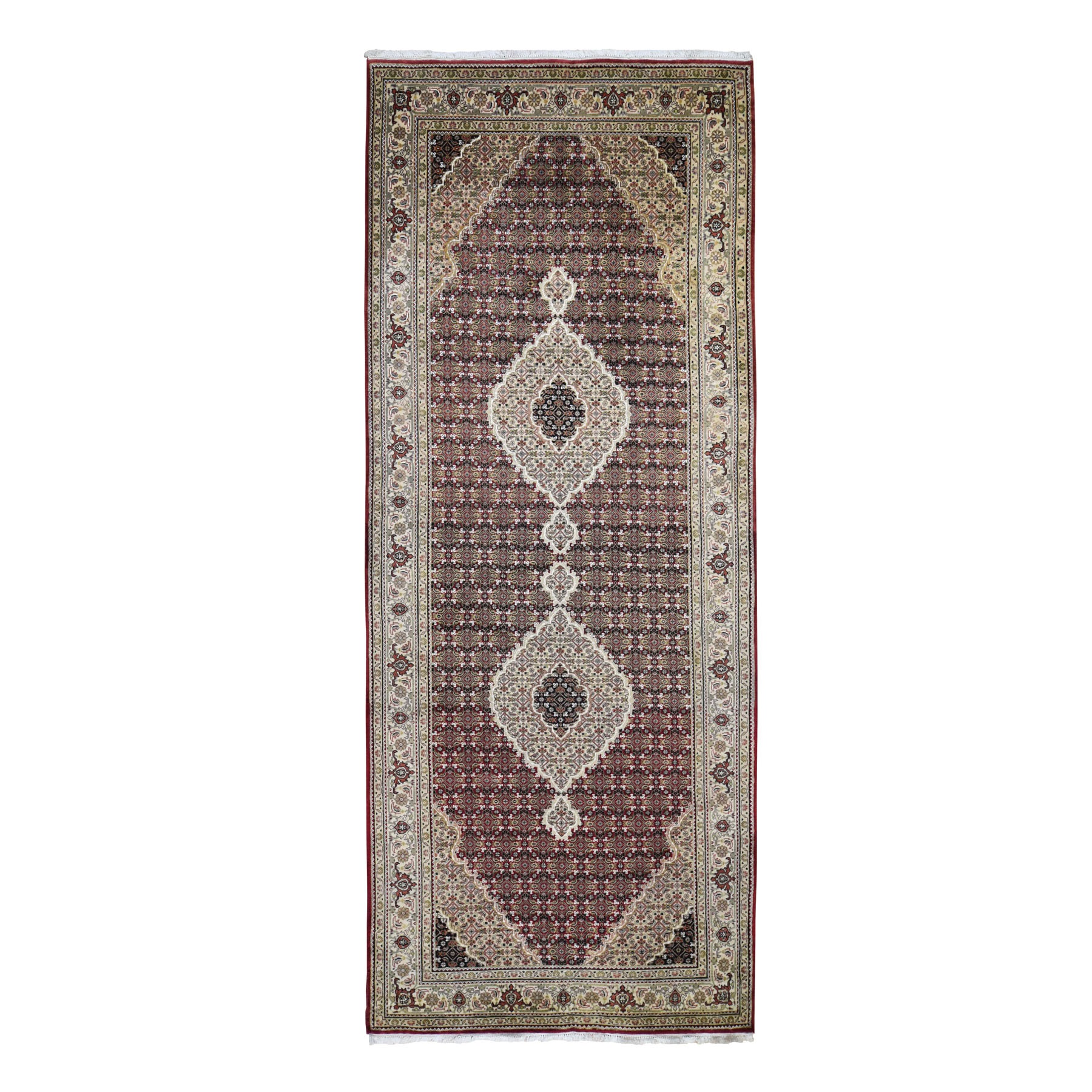 "5'X12'9"" Red Tabriz Mahi Gallery Size Wool And Silk Hand Knotted Oriental Rug moad90d6"