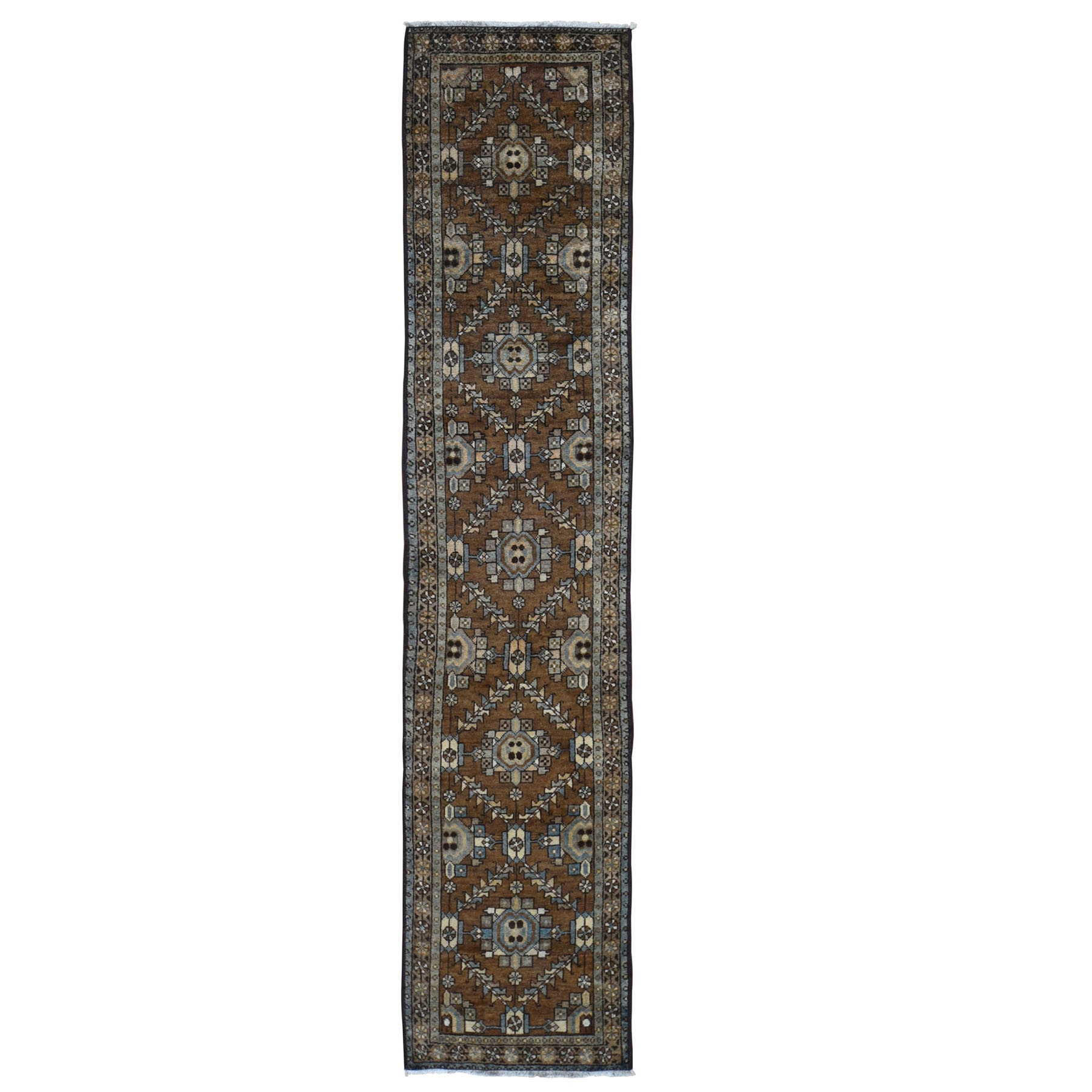 "2'X9'1"" Brown Antique Persian Heriz With Soft Natural Colors Narrow Runner Hand Knotted Oriental Rug moad90d8"