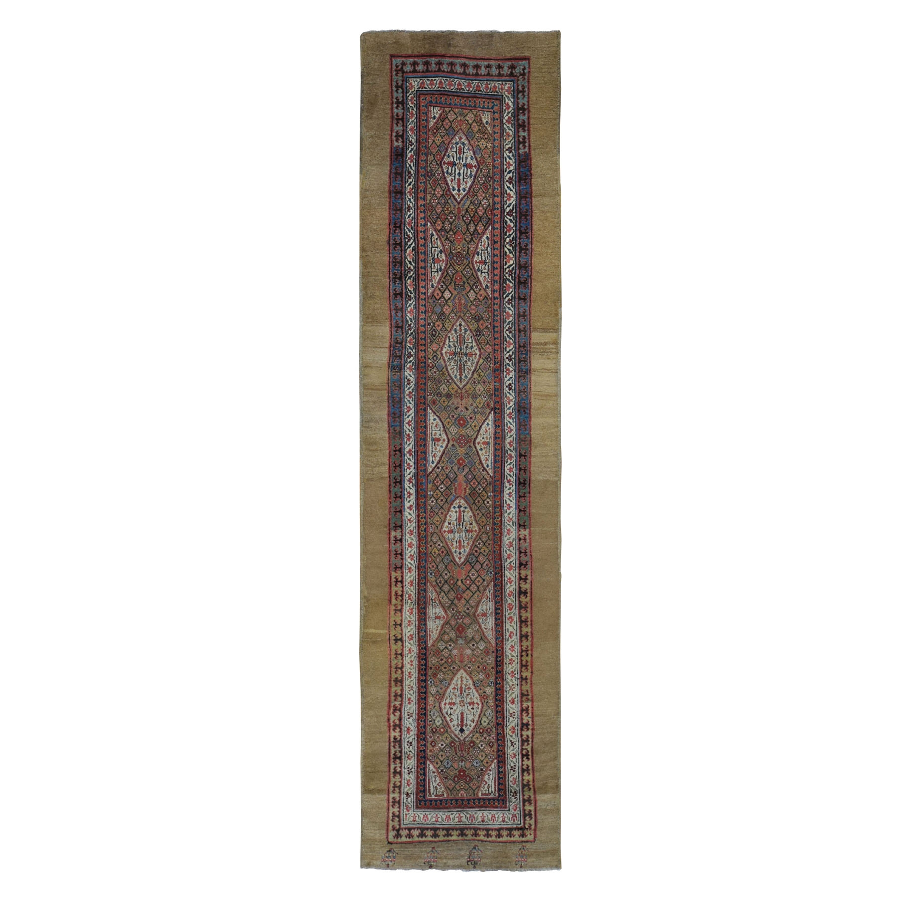 "3'X12'10"" Brown Antique Persian Serab Runner Camel Hair Full Pile Runner Hand Knotted Oriental Rugg moad90e0"