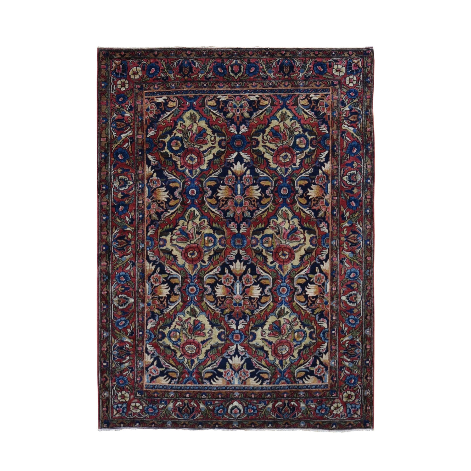 """3'4""""X4'10"""" Red Antique Persian Sarouk Exc Condition Soft Full Pile Hand Knotted Oriental Rug moad90eb"""