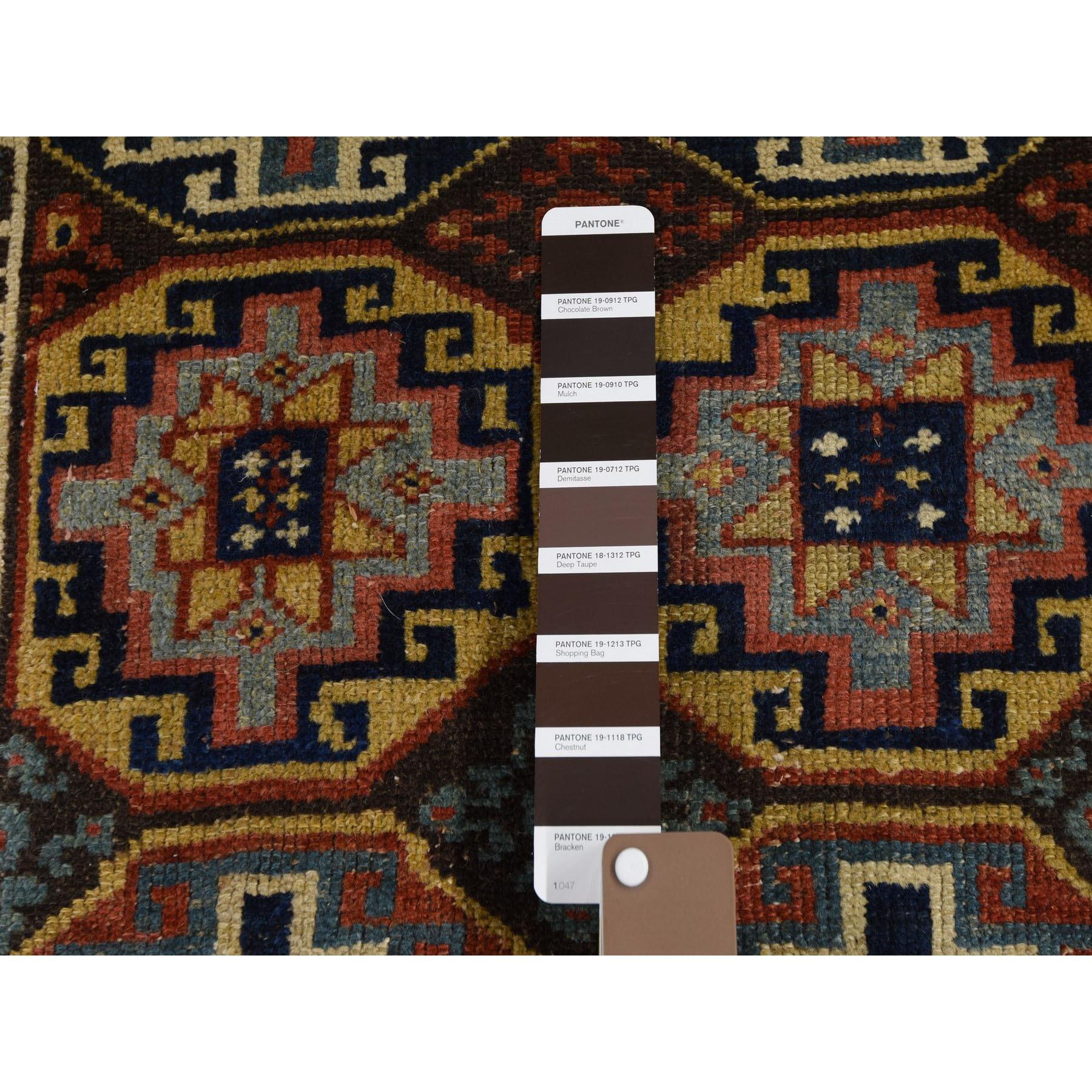 3-x12-4  Brown Antique Caucasian Kazak Double Medallion Runner Hand Knotted Oriental Rug