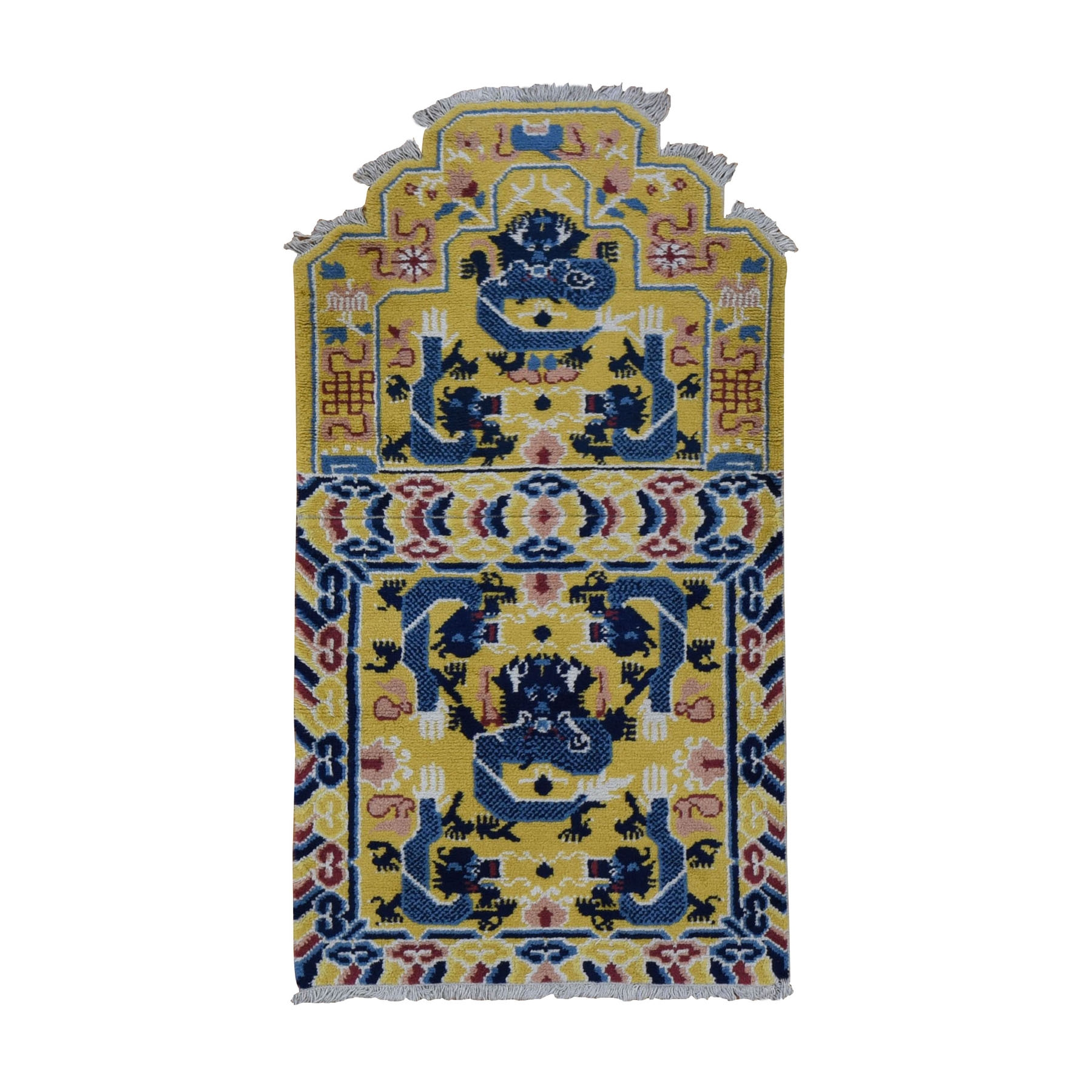 """2'6""""x4'  Yellow Antique Chinese Ningxia Chair Seat and Back Cover Hand Knotted Oriental Rug 49055"""