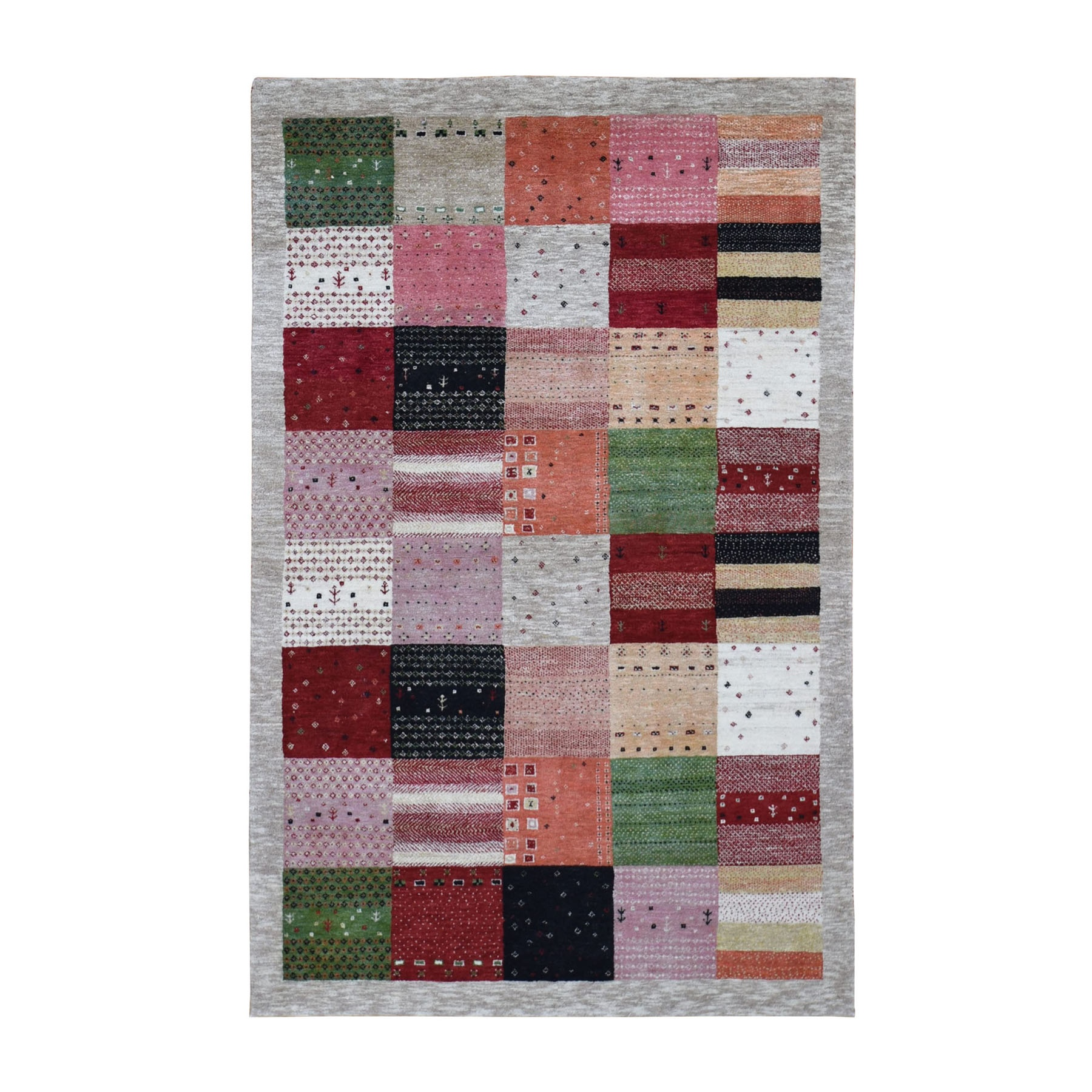 """3'10""""X6' Pure Wool Hand Knotted Lori Buft Gabbeh Patchwork Design Rug moad90e9"""