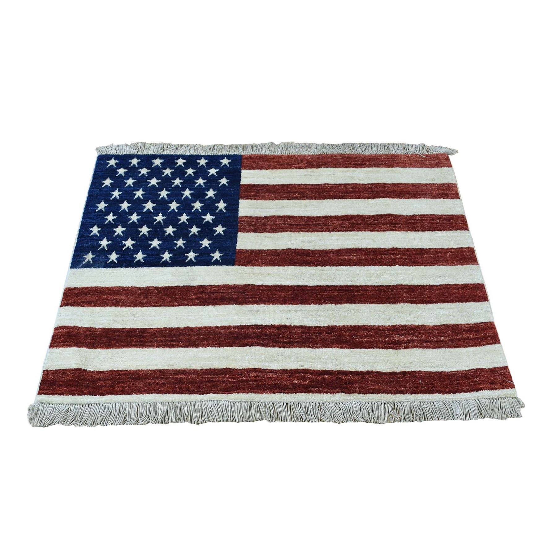 """2'5""""X4'  Hand Knotted Pure Wool Peshawar American Flag Wall Hanging Rug moad906b"""