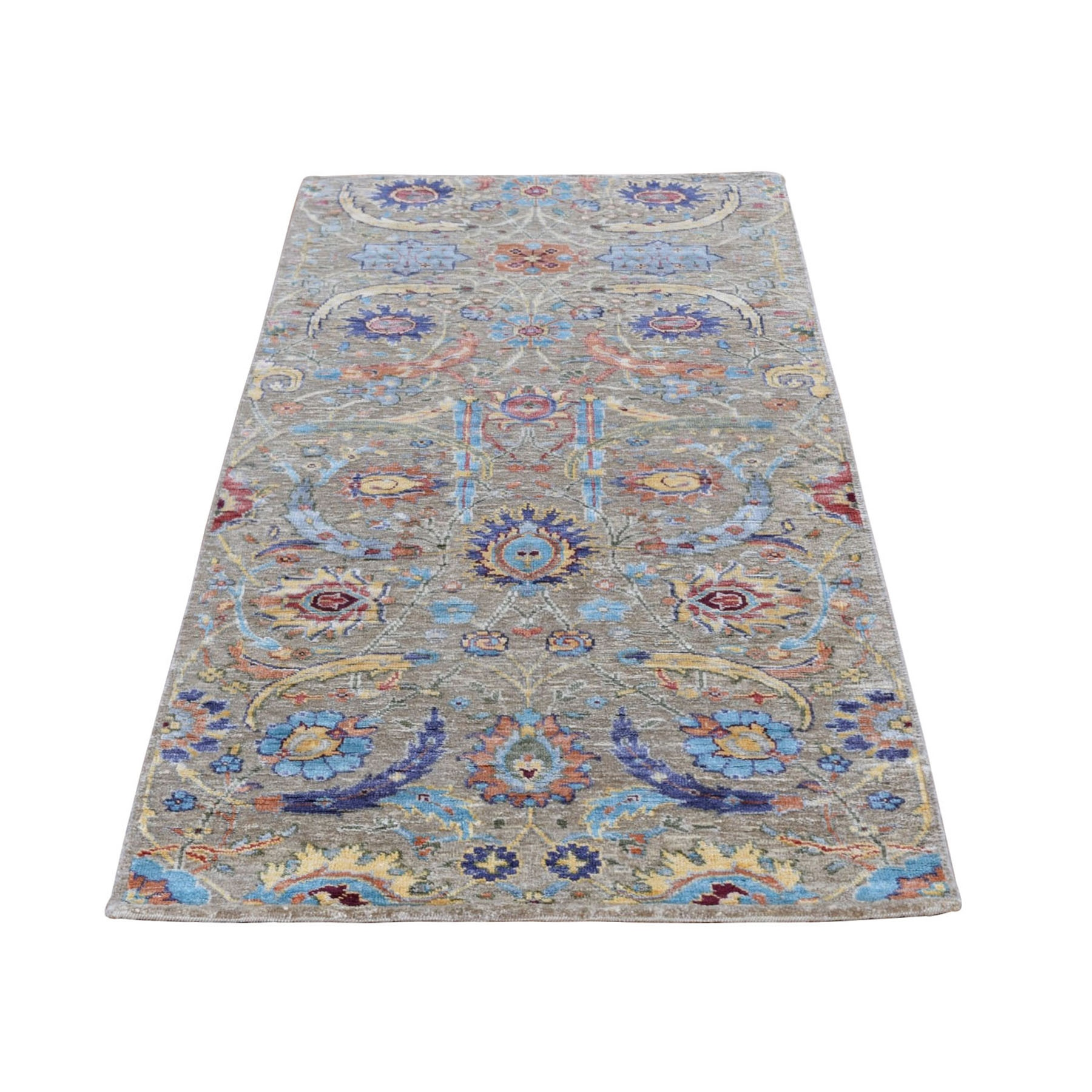 "2'8""X6' Sickle Leaf Design Silk With Textured Wool Runner Hand Knotted Oriental Rug moad906d"