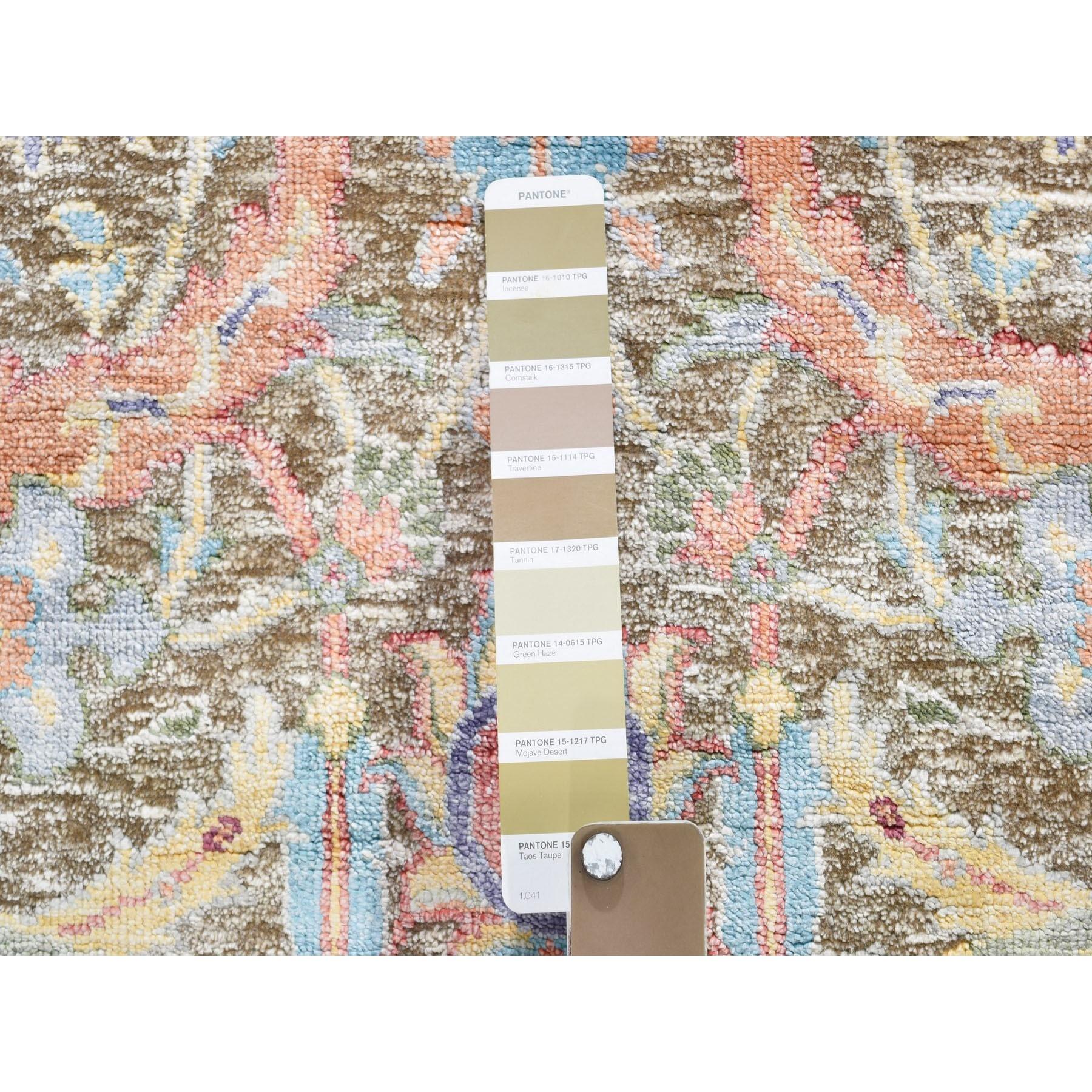 2-8 x6- Sickle Leaf Design Silk With Textured Wool Runner Hand Knotted Oriental Rug
