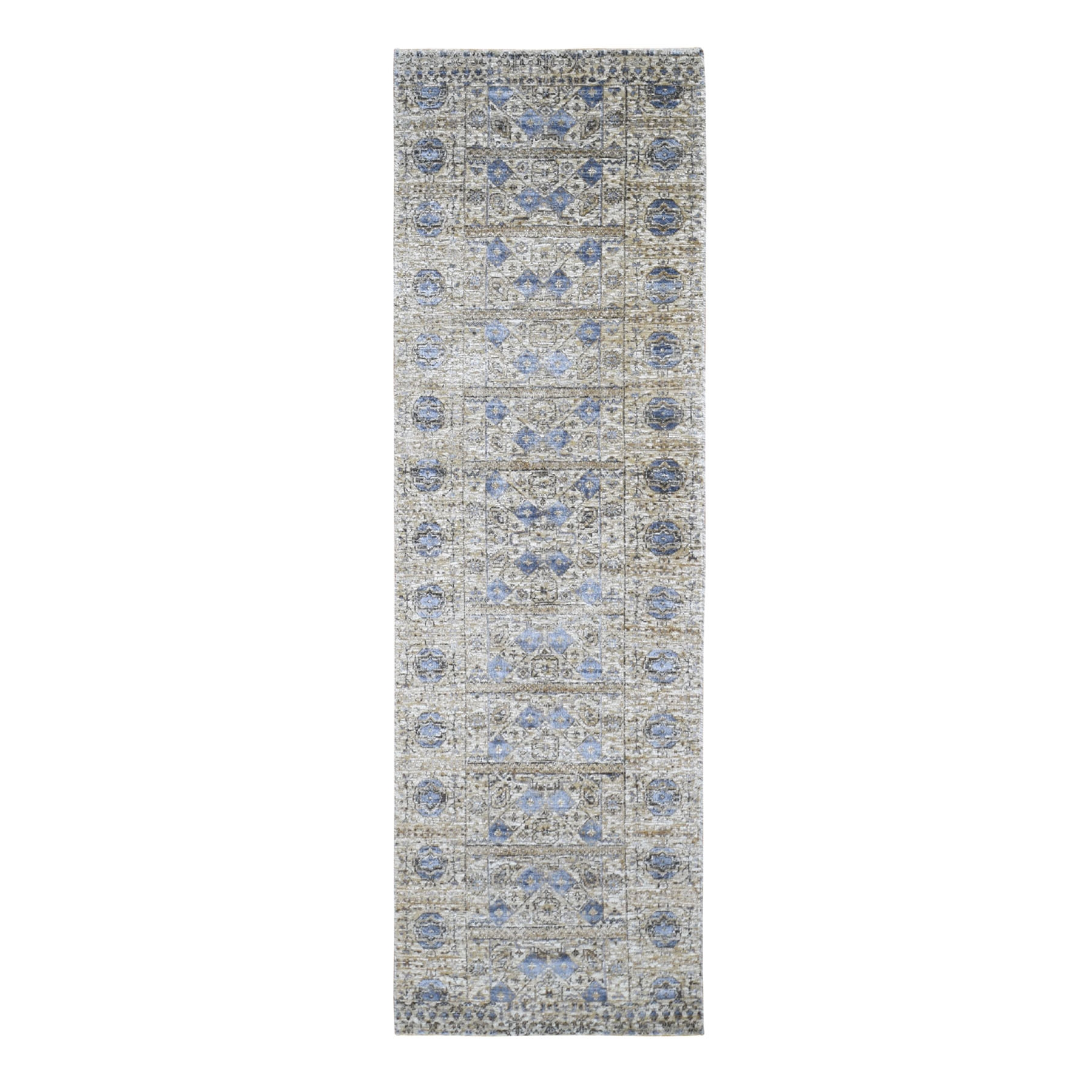 "2'6""X8'2"" Silk With Textured Wool Mamluk Design Runner Hand Knotted Rug moad906e"
