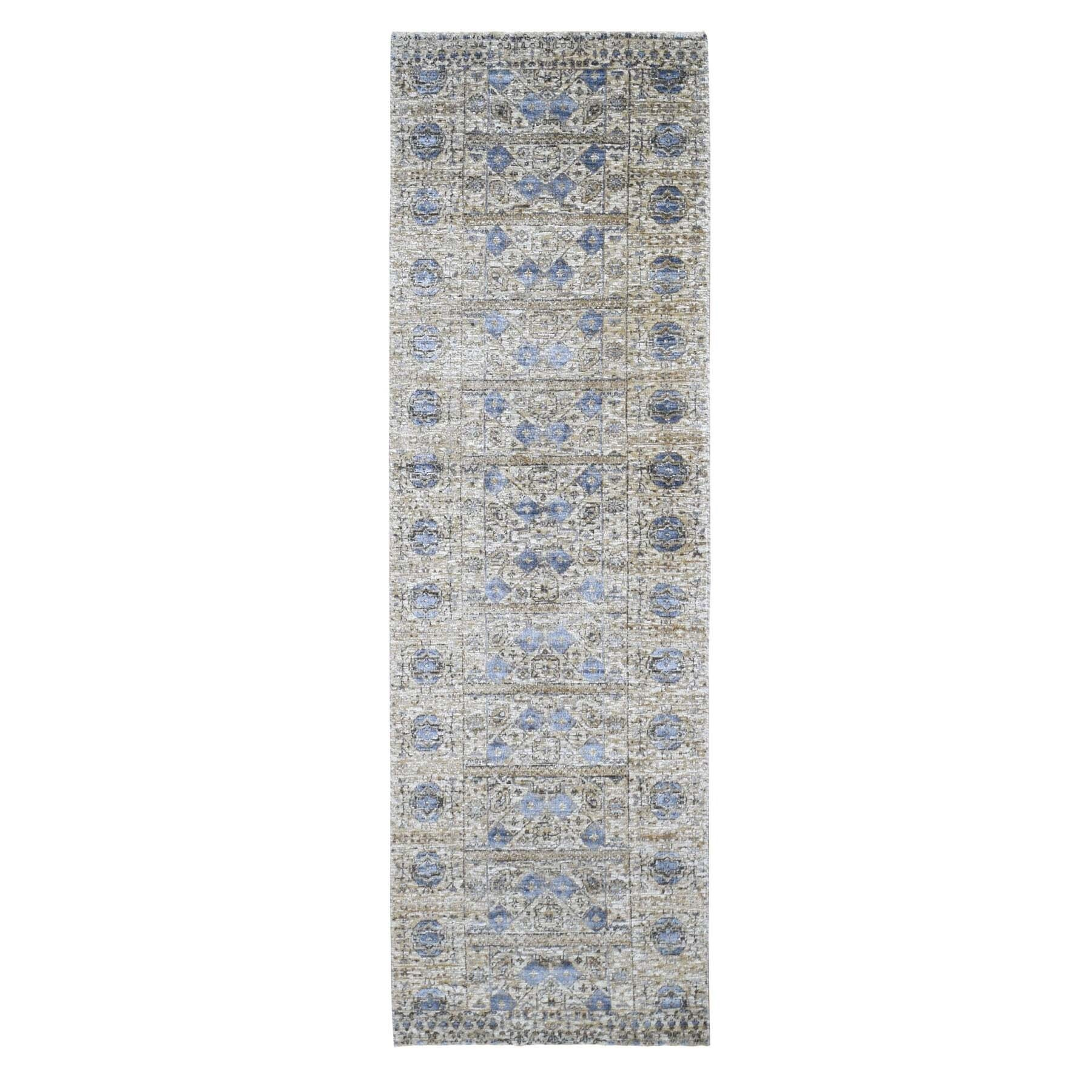 "2'6""X8'2"" Silk With Textured Wool Mamluk Design Runner Hand Knotted Oriental Rug moad9066"
