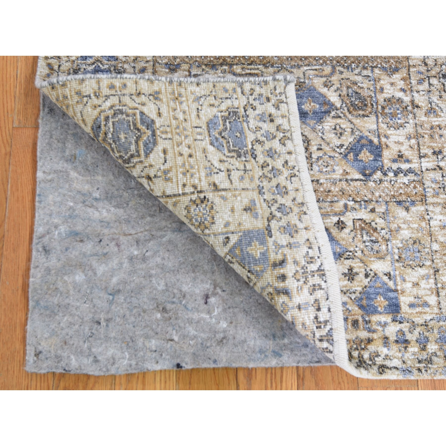 "2'7""x6'1"" Silk With Textured Wool Mamluk Design Runner Hand knotted Oriental Rug"
