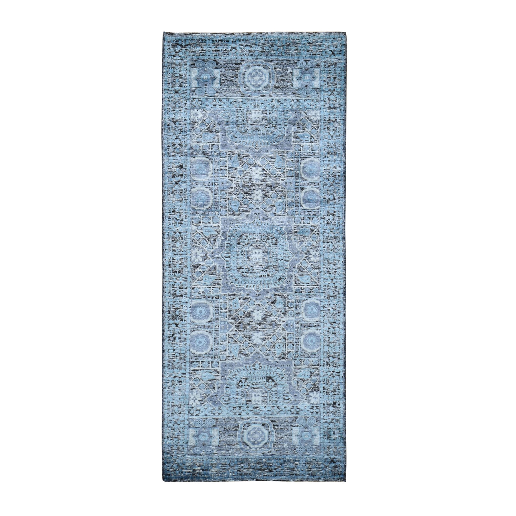 "2'5""X6' Silk With Textured Wool Hi-Low Pile Mamluk Design Runner Hand Knotted Oriental Rug moad9070"
