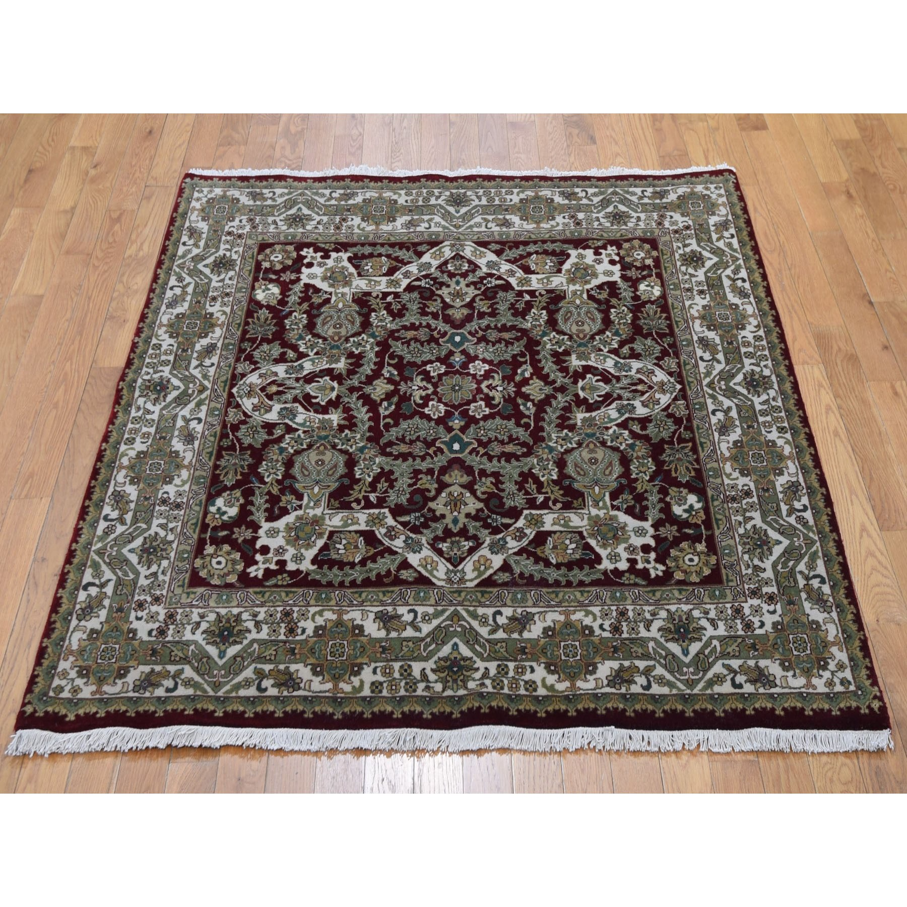 5-x5- Red Square Hand Knotted 300 Kpsi New Zealand Wool Oriental Rug