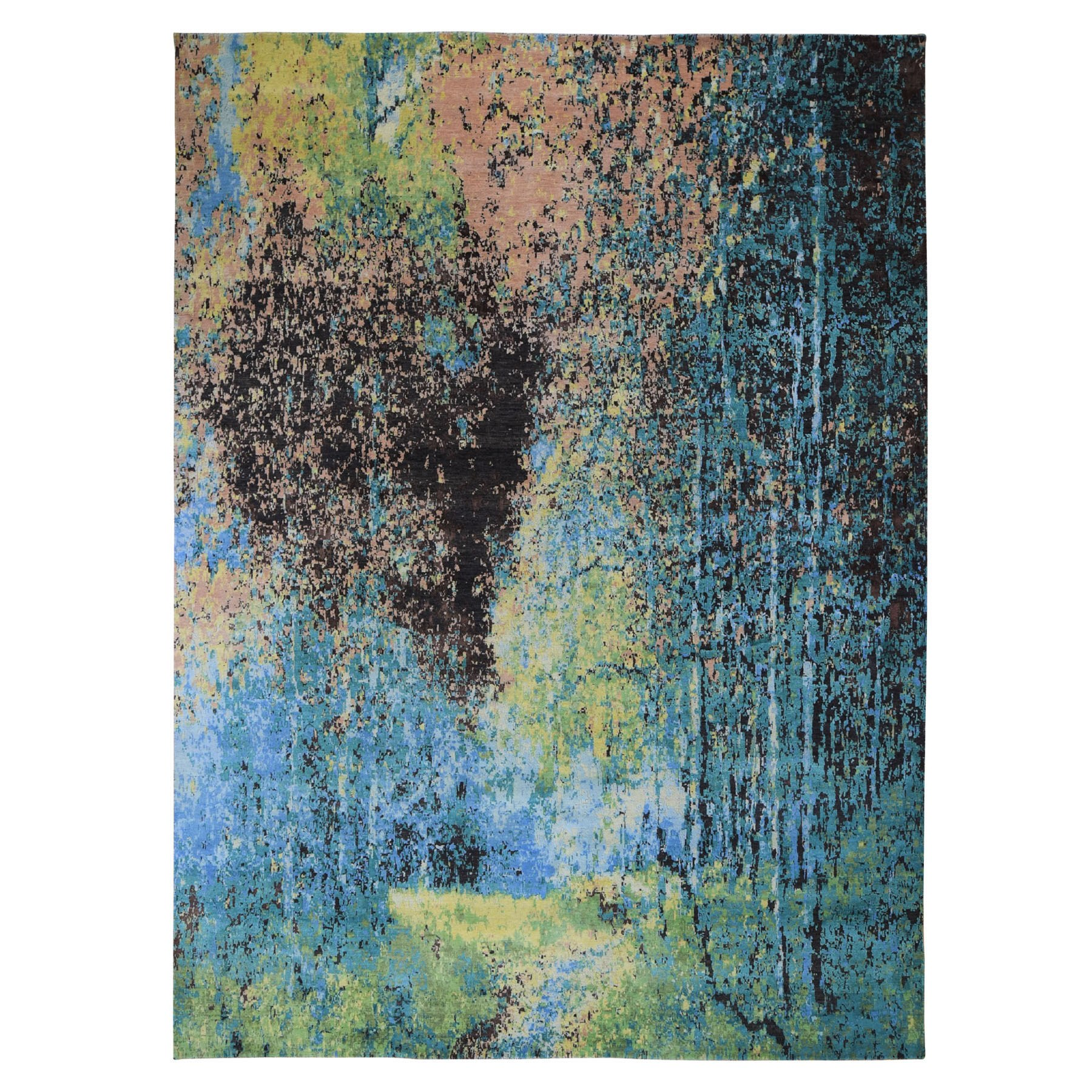 "8'10""X12' The Forest, Wool And Silk Abstract With Greens Hand Knotted Oriental Rug moad907e"