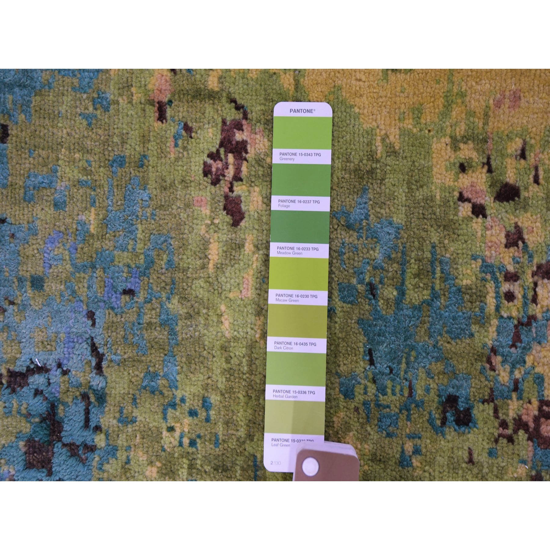 8-10 x12- THE FOREST, Wool And Silk Abstract With Greens Hand Knotted Oriental Rug
