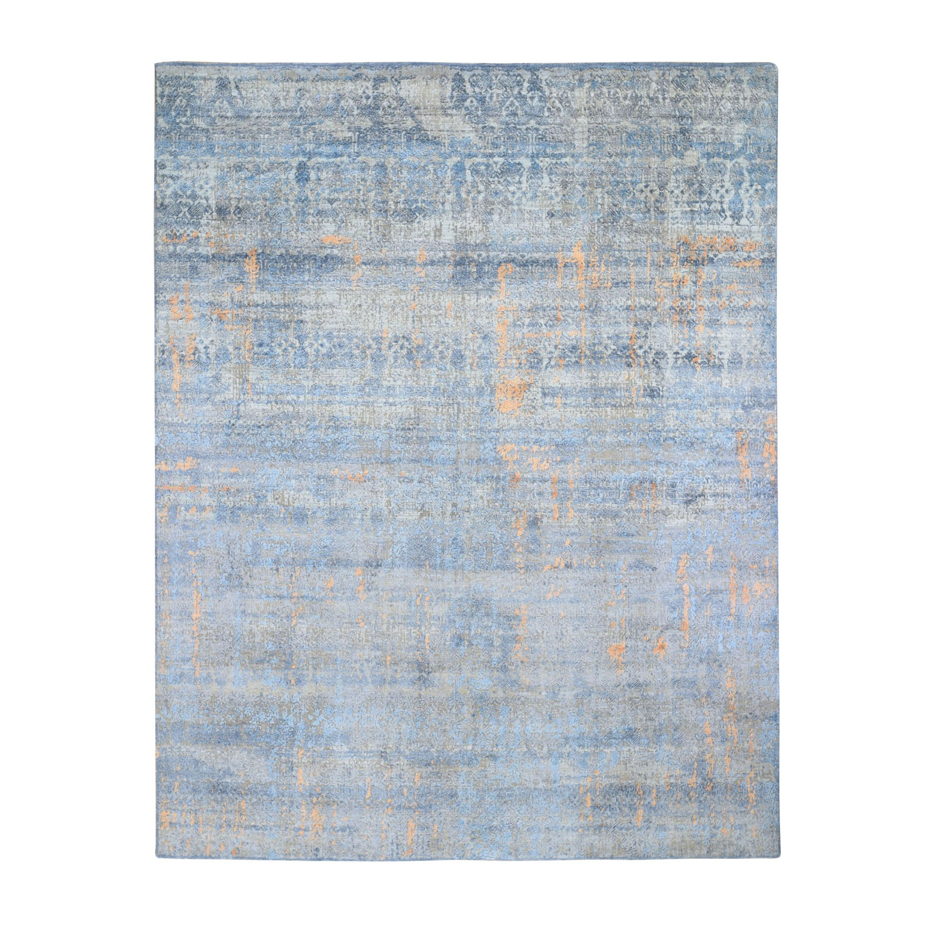 8'X10'  Light Blue Silk With Textured Wool Abstract Dripping Design Hand Knotted Oriental Rug moad9076